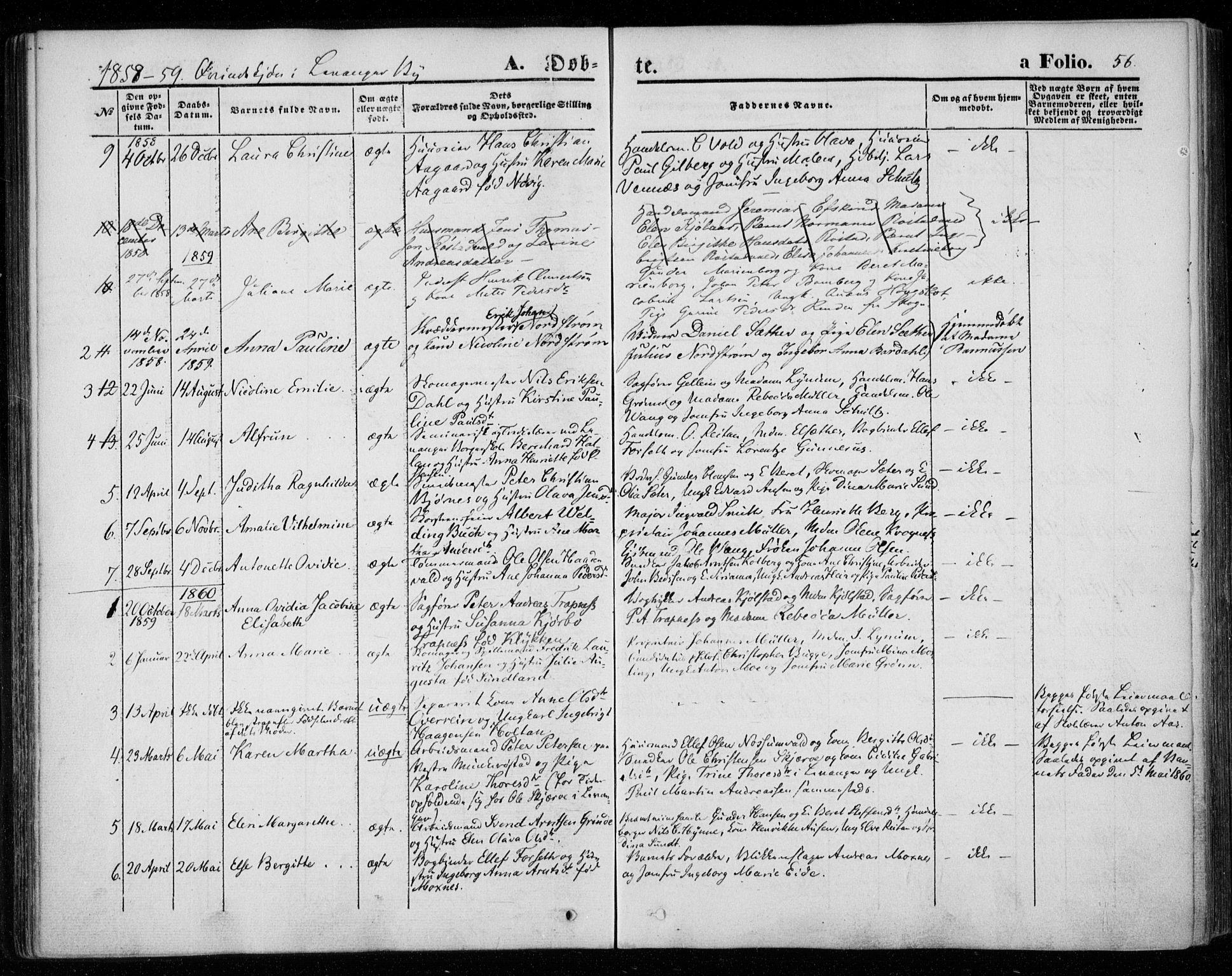 SAT, Ministerialprotokoller, klokkerbøker og fødselsregistre - Nord-Trøndelag, 720/L0184: Ministerialbok nr. 720A02 /1, 1855-1863, s. 56