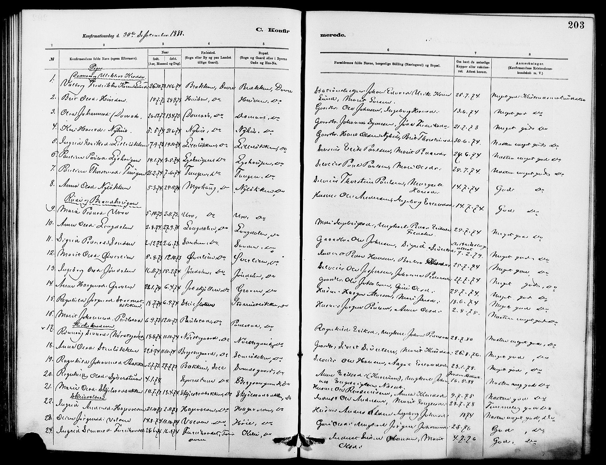 SAH, Dovre prestekontor, Klokkerbok nr. 2, 1881-1907, s. 203
