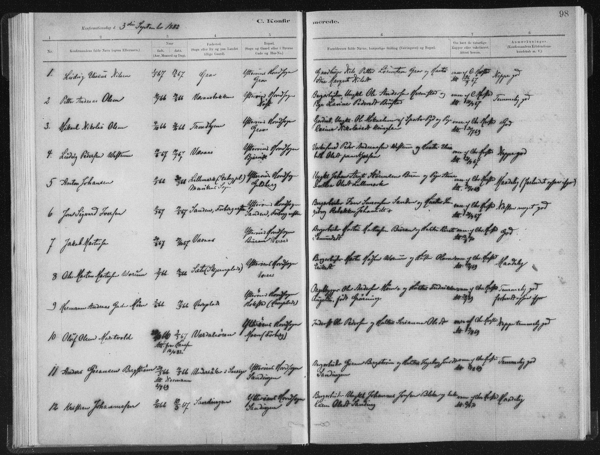 SAT, Ministerialprotokoller, klokkerbøker og fødselsregistre - Nord-Trøndelag, 722/L0220: Ministerialbok nr. 722A07, 1881-1908, s. 98