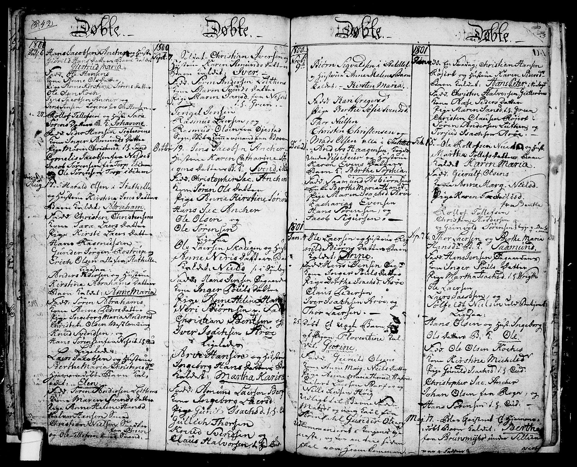 SAKO, Langesund kirkebøker, G/Ga/L0001: Klokkerbok nr. 1, 1783-1801, s. 42-43