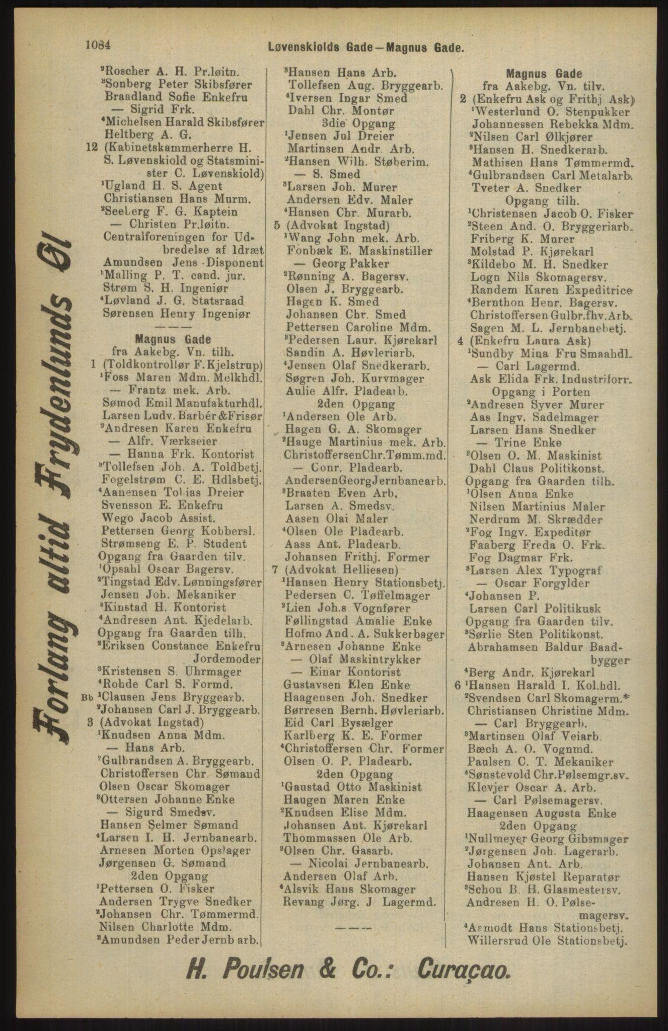 RA, Kristiania adressebok (publikasjon)*, 1904, s. 1084