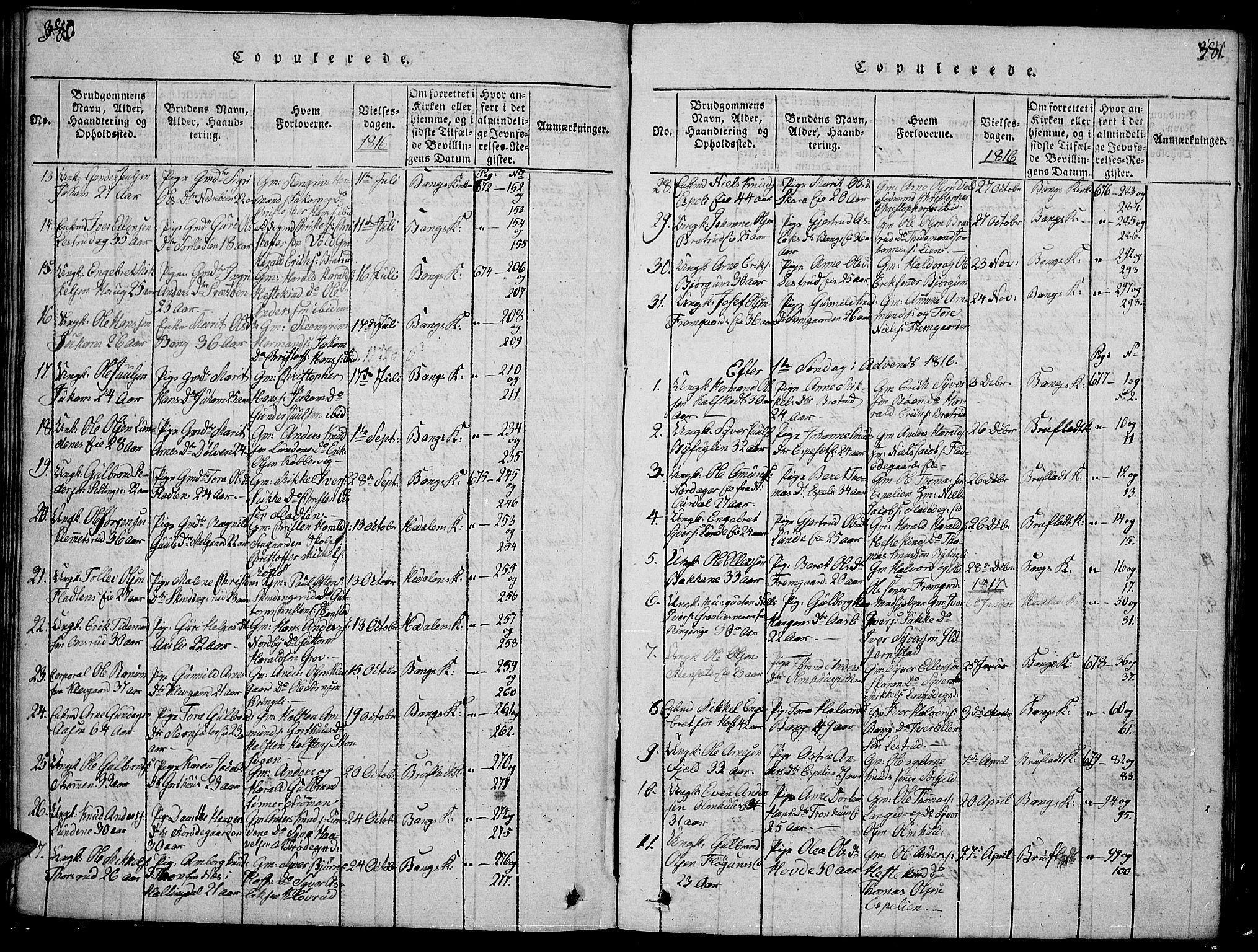SAH, Sør-Aurdal prestekontor, Klokkerbok nr. 1, 1815-1826, s. 380-381