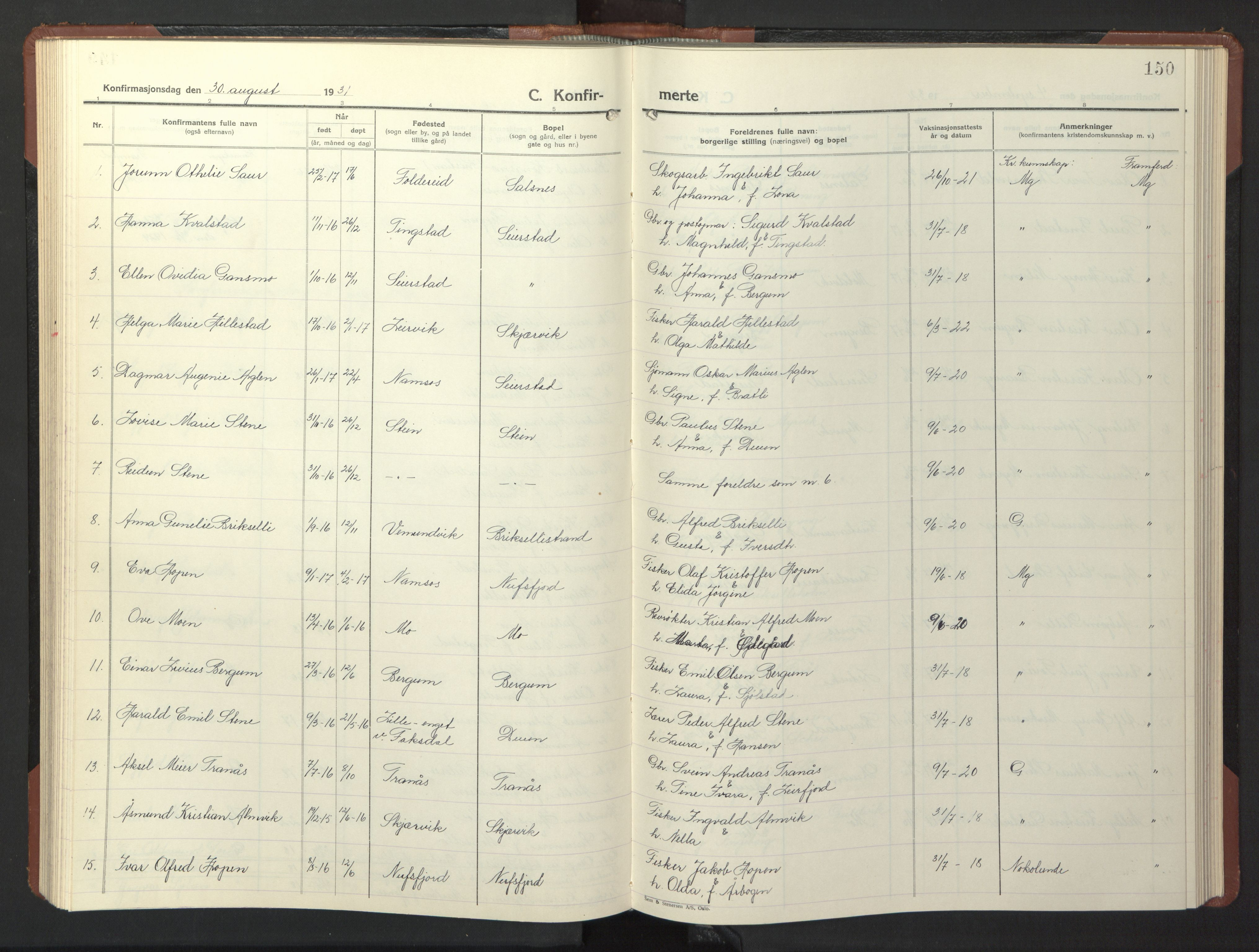 SAT, Ministerialprotokoller, klokkerbøker og fødselsregistre - Nord-Trøndelag, 773/L0625: Klokkerbok nr. 773C01, 1910-1952, s. 150