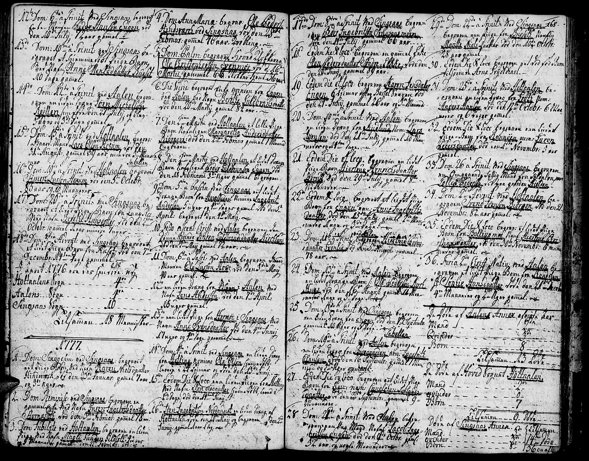 SAT, Ministerialprotokoller, klokkerbøker og fødselsregistre - Sør-Trøndelag, 685/L0952: Ministerialbok nr. 685A01, 1745-1804, s. 165