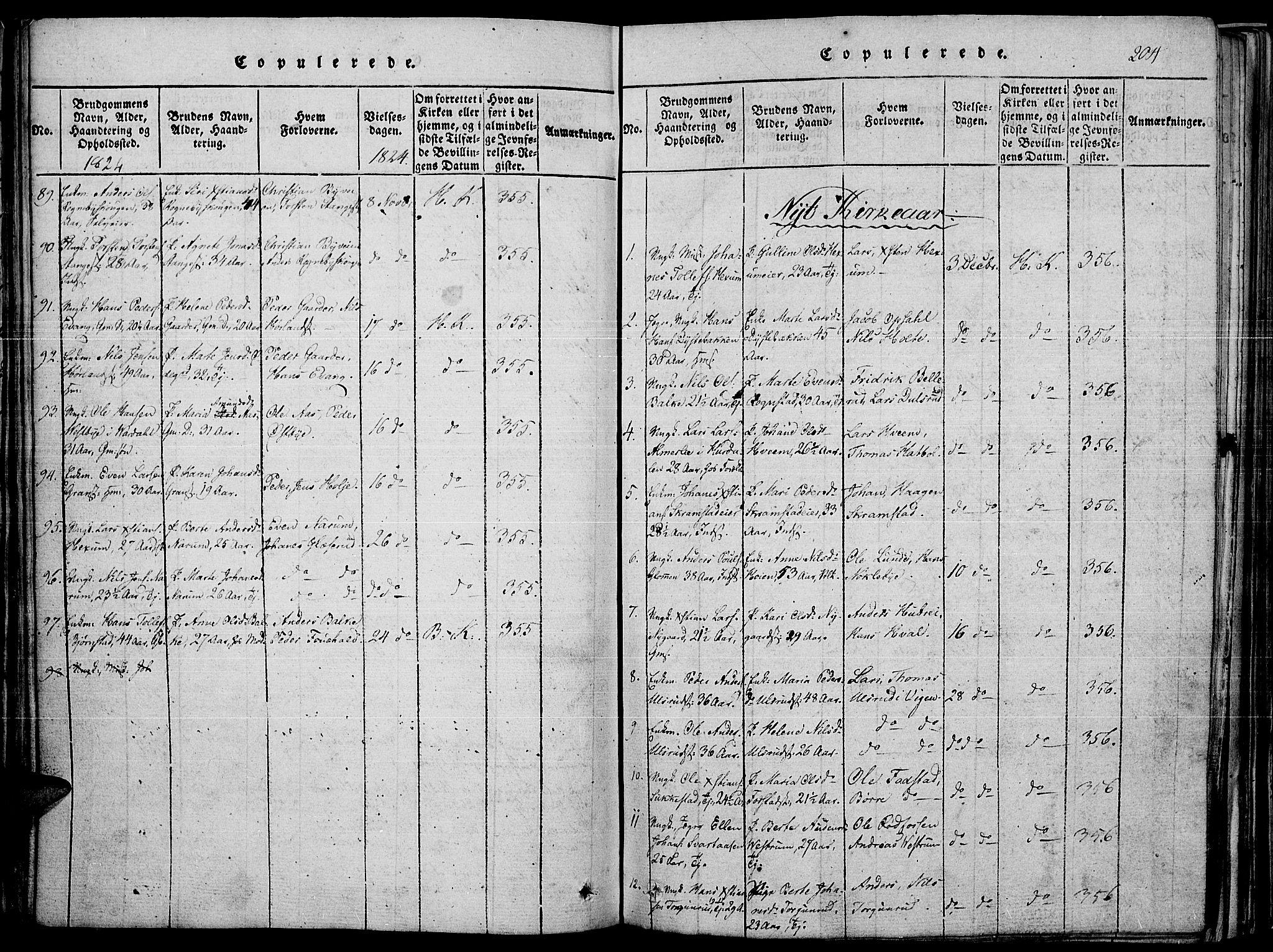 SAH, Toten prestekontor, Ministerialbok nr. 10, 1820-1828, s. 204