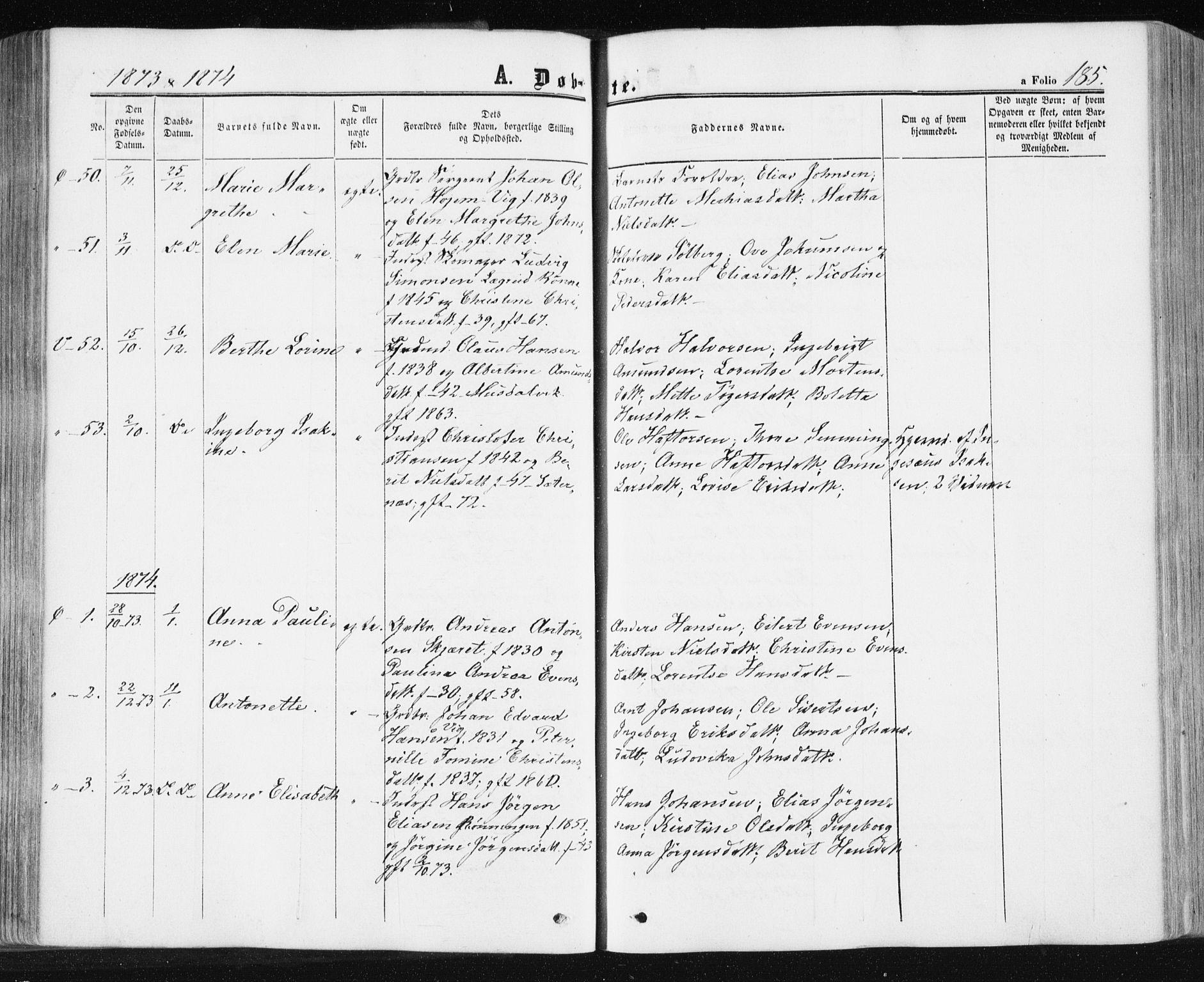 SAT, Ministerialprotokoller, klokkerbøker og fødselsregistre - Sør-Trøndelag, 659/L0737: Ministerialbok nr. 659A07, 1857-1875, s. 185