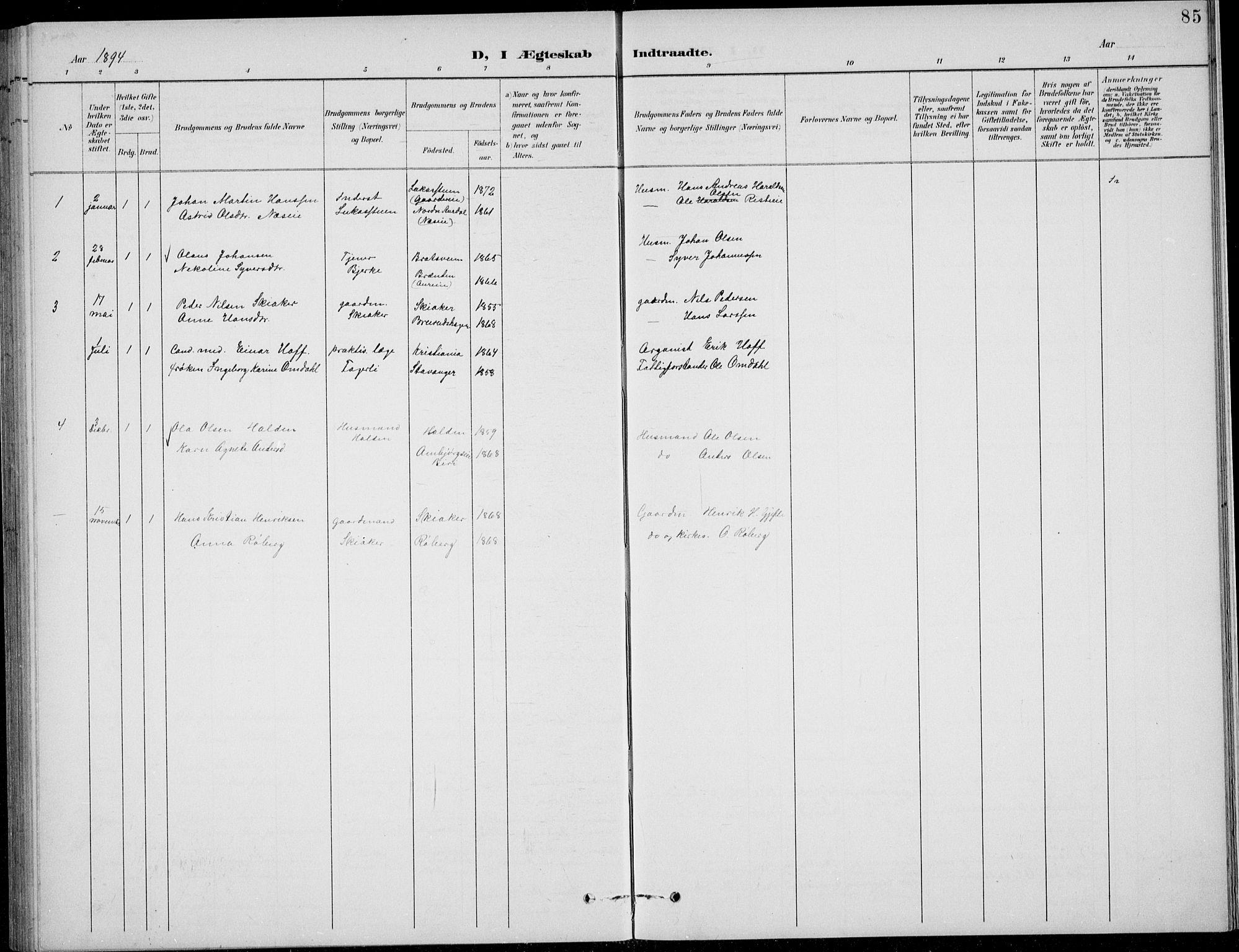 SAH, Nordre Land prestekontor, Klokkerbok nr. 14, 1891-1907, s. 85