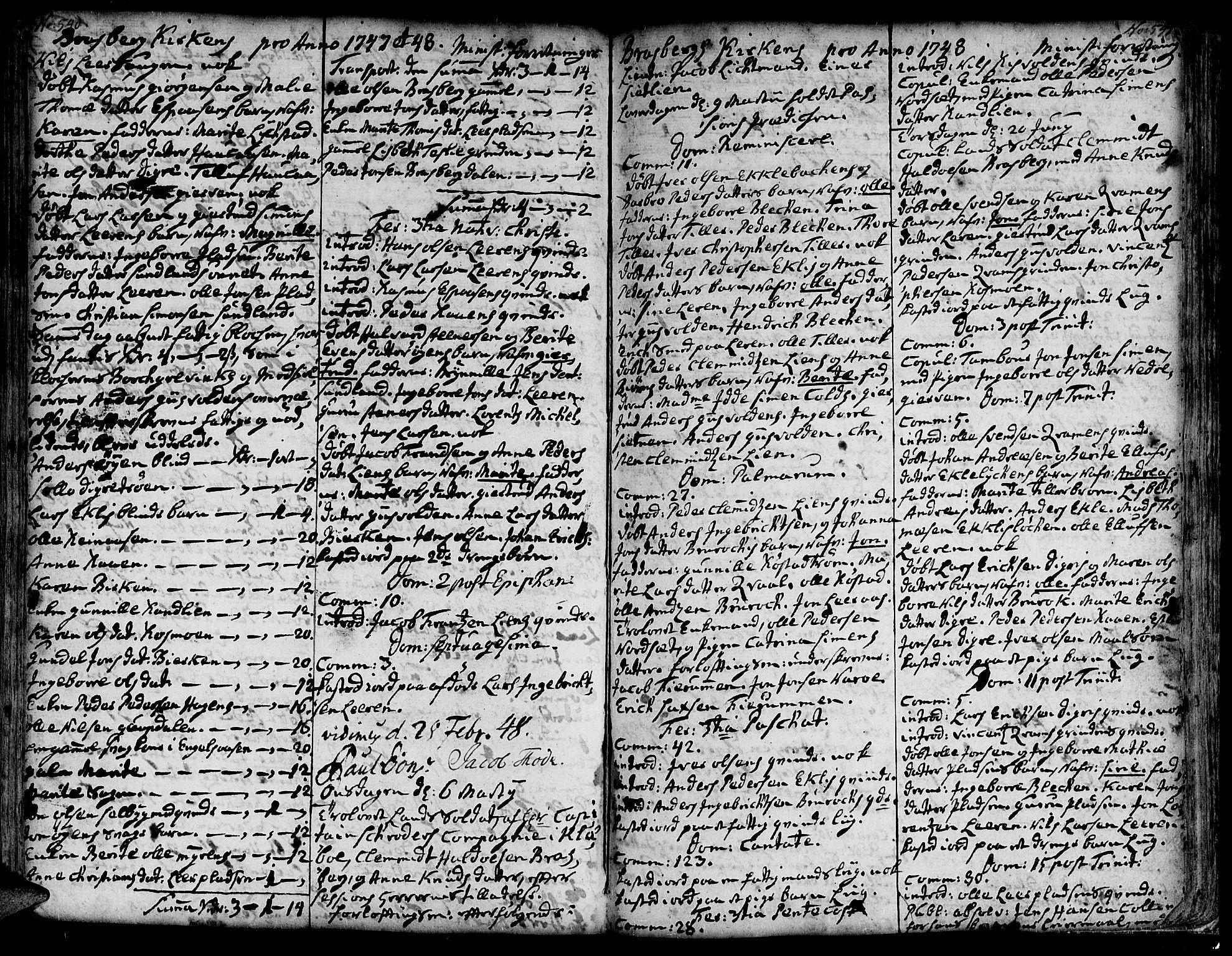 SAT, Ministerialprotokoller, klokkerbøker og fødselsregistre - Sør-Trøndelag, 606/L0278: Ministerialbok nr. 606A01 /4, 1727-1780, s. 540-541