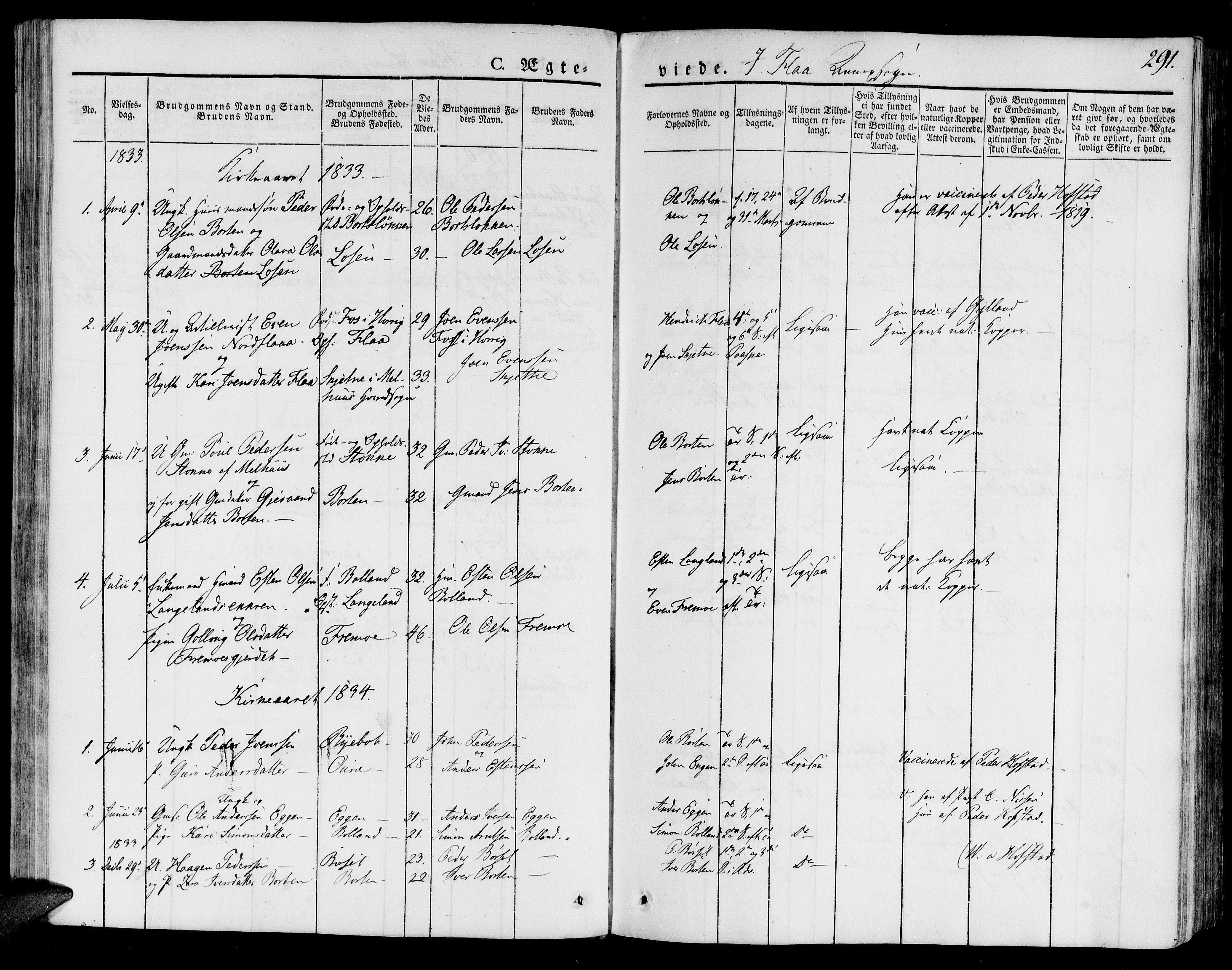 SAT, Ministerialprotokoller, klokkerbøker og fødselsregistre - Sør-Trøndelag, 691/L1072: Ministerialbok nr. 691A05 /3, 1826-1841, s. 291