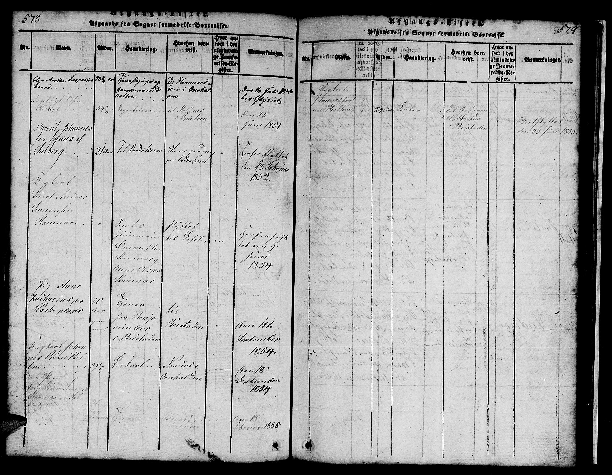 SAT, Ministerialprotokoller, klokkerbøker og fødselsregistre - Nord-Trøndelag, 731/L0310: Klokkerbok nr. 731C01, 1816-1874, s. 578-579