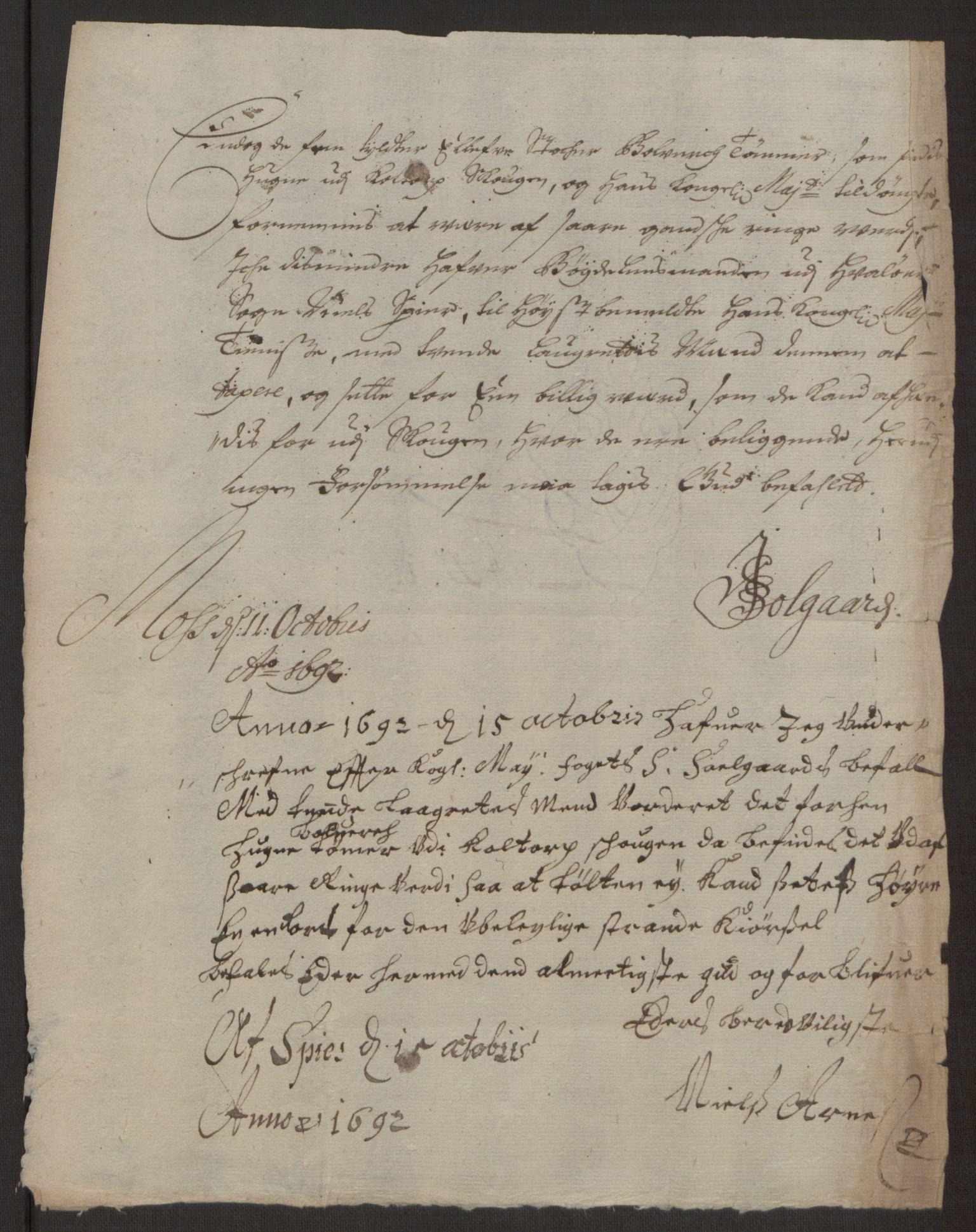RA, Rentekammeret inntil 1814, Reviderte regnskaper, Fogderegnskap, R03/L0120: Fogderegnskap Onsøy, Tune, Veme og Åbygge fogderi, 1692-1693, s. 115