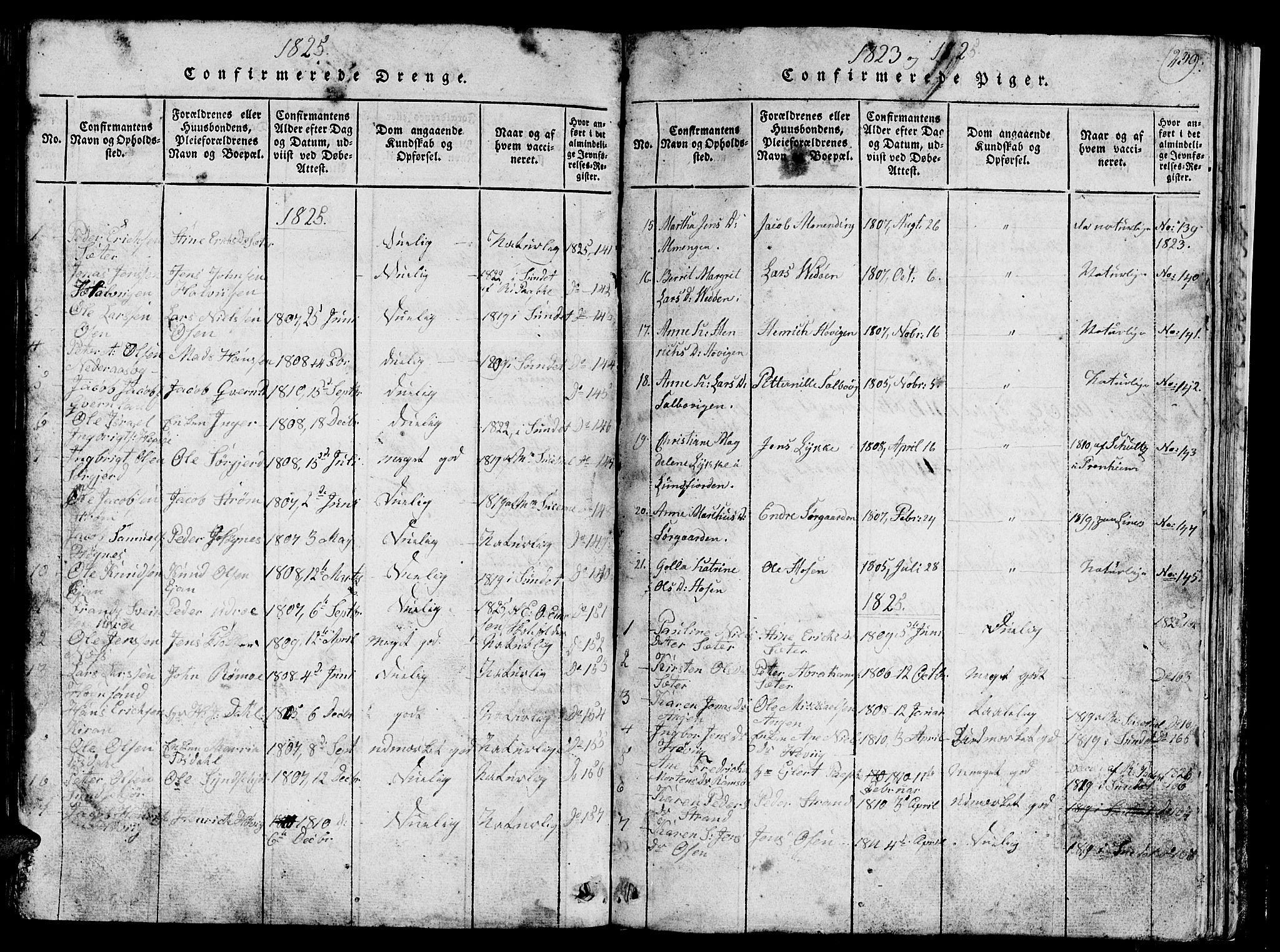 SAT, Ministerialprotokoller, klokkerbøker og fødselsregistre - Sør-Trøndelag, 657/L0714: Klokkerbok nr. 657C01, 1818-1868, s. 239
