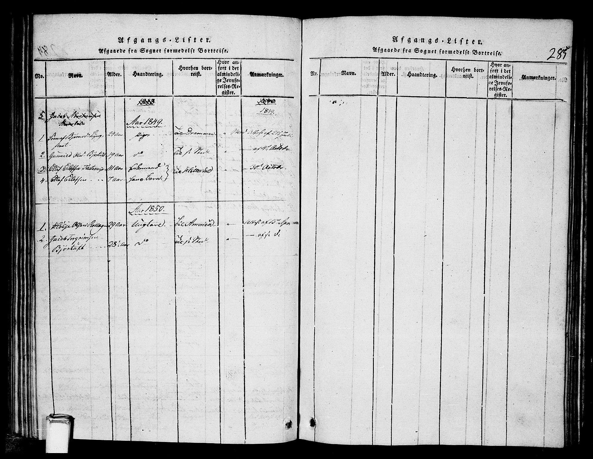 SAKO, Tinn kirkebøker, G/Gb/L0001: Klokkerbok nr. II 1 /1, 1815-1850, s. 285