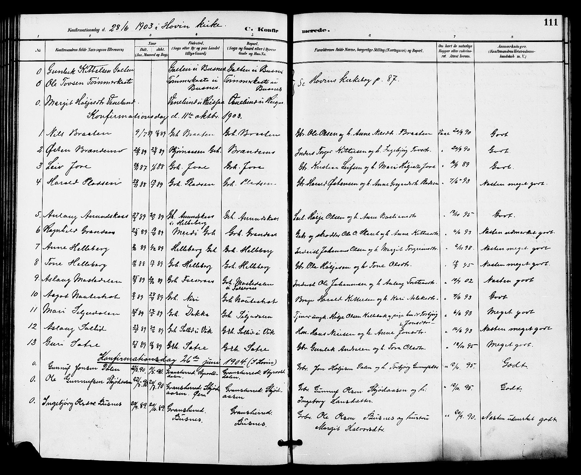 SAKO, Gransherad kirkebøker, G/Ga/L0003: Klokkerbok nr. I 3, 1887-1915, s. 111