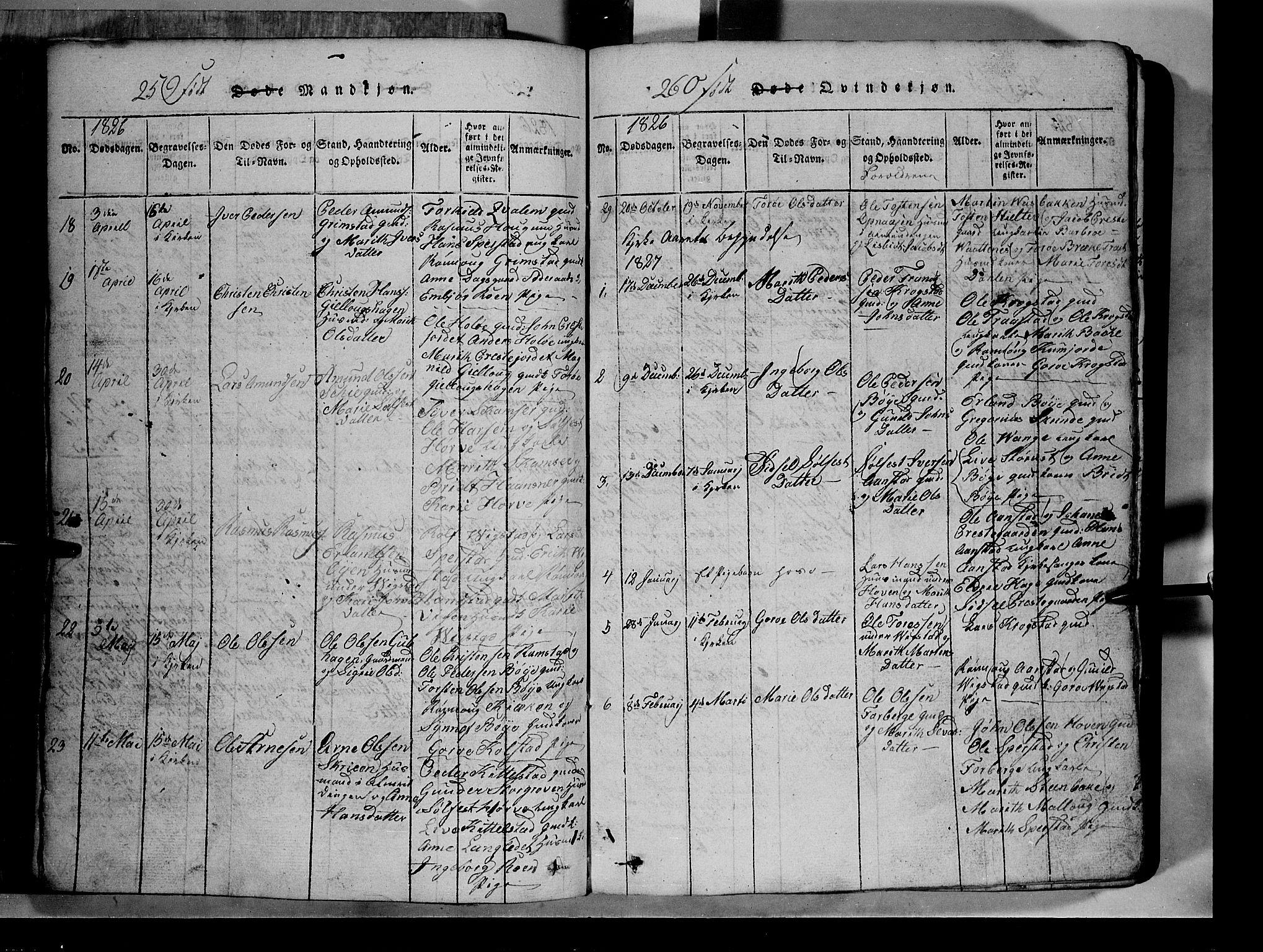 SAH, Lom prestekontor, L/L0003: Klokkerbok nr. 3, 1815-1844, s. 259-260