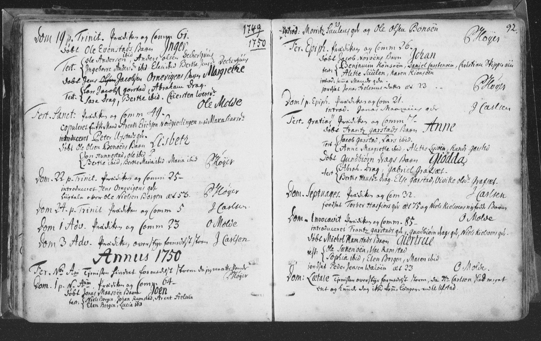 SAT, Ministerialprotokoller, klokkerbøker og fødselsregistre - Nord-Trøndelag, 786/L0685: Ministerialbok nr. 786A01, 1710-1798, s. 92