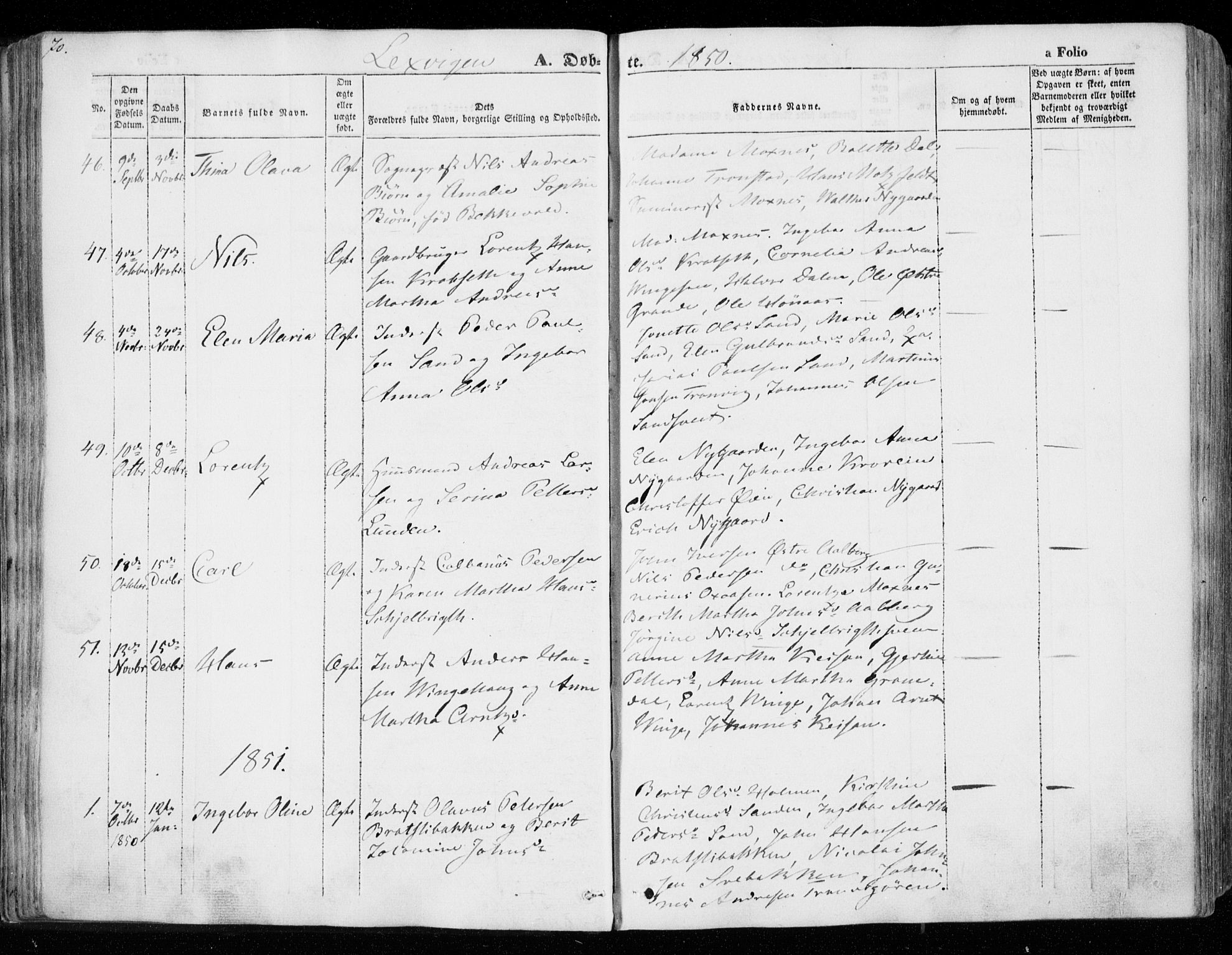 SAT, Ministerialprotokoller, klokkerbøker og fødselsregistre - Nord-Trøndelag, 701/L0007: Ministerialbok nr. 701A07 /1, 1842-1854, s. 70