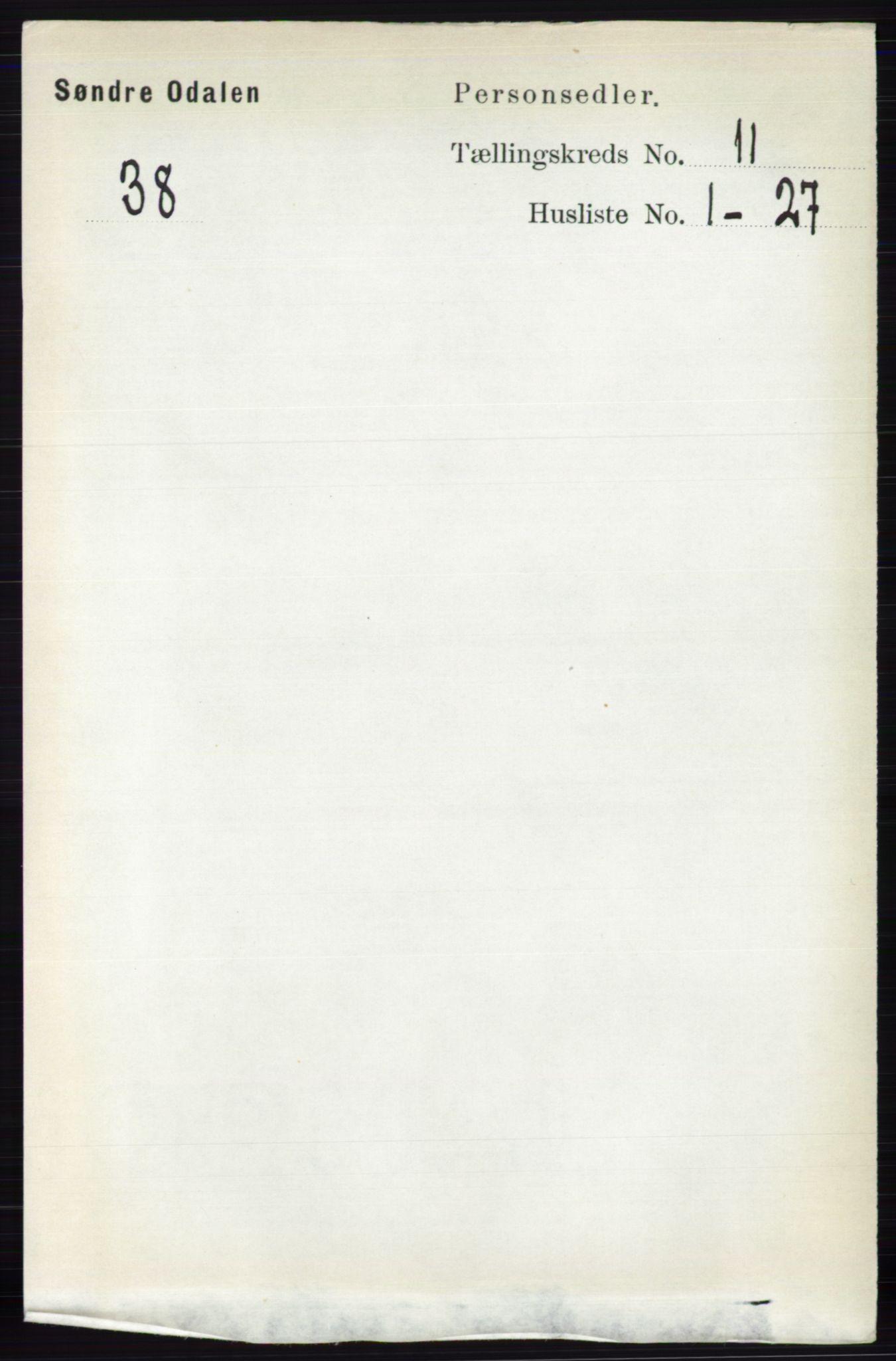 RA, Folketelling 1891 for 0419 Sør-Odal herred, 1891, s. 4903