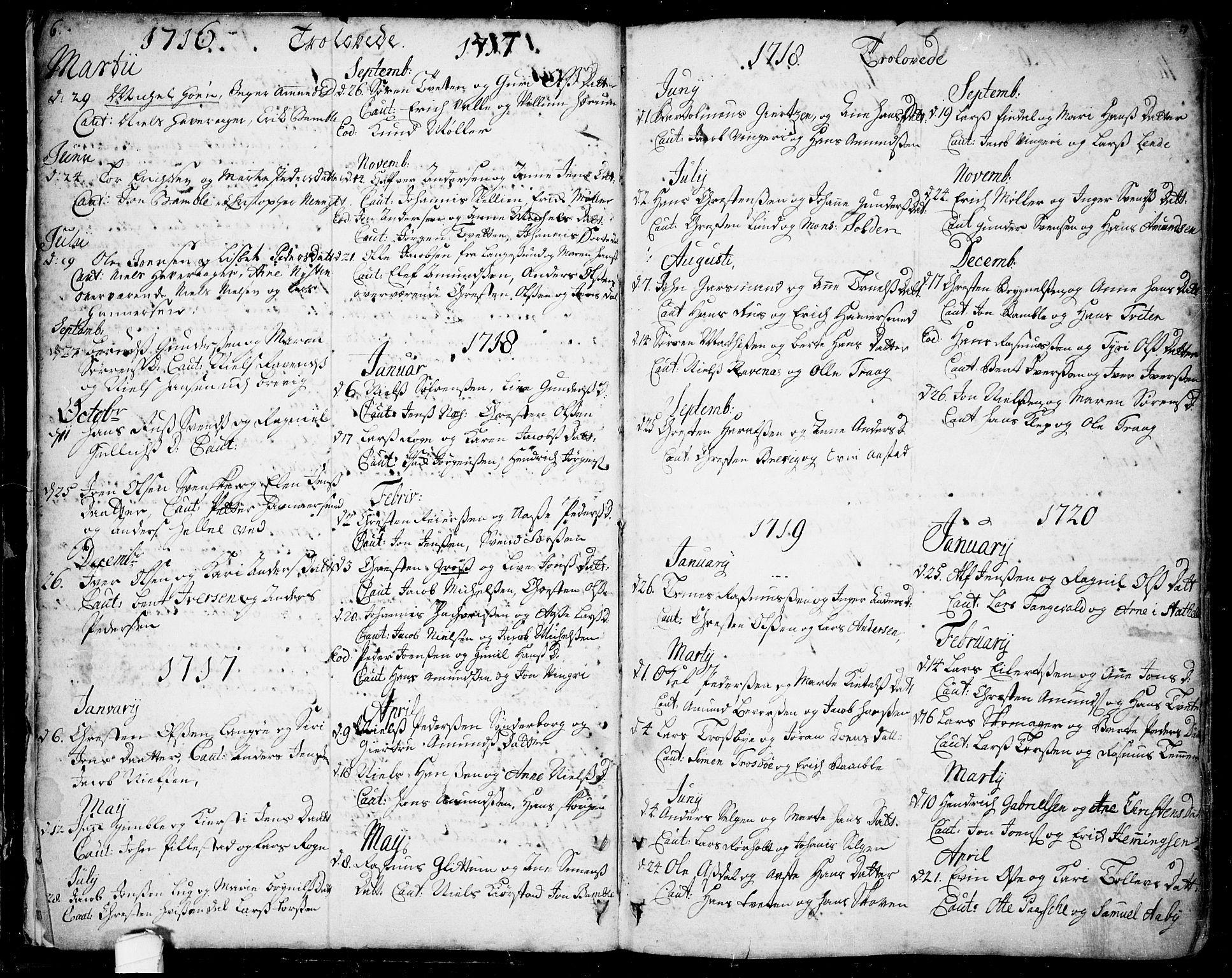 SAKO, Bamble kirkebøker, F/Fa/L0001: Ministerialbok nr. I 1, 1702-1774, s. 6-7