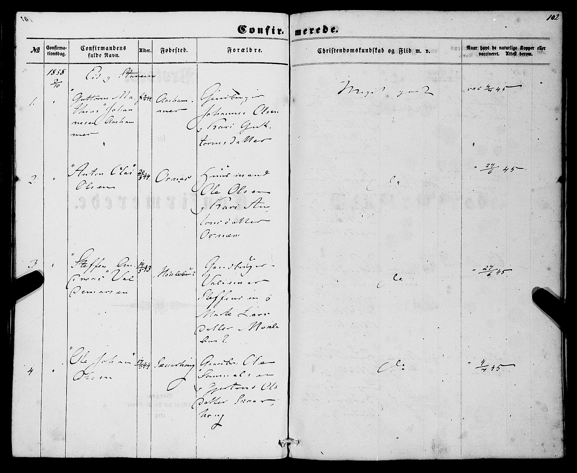 SAB, Eid Sokneprestembete, H/Haa: Ministerialbok nr. A 8, 1858-1860, s. 102