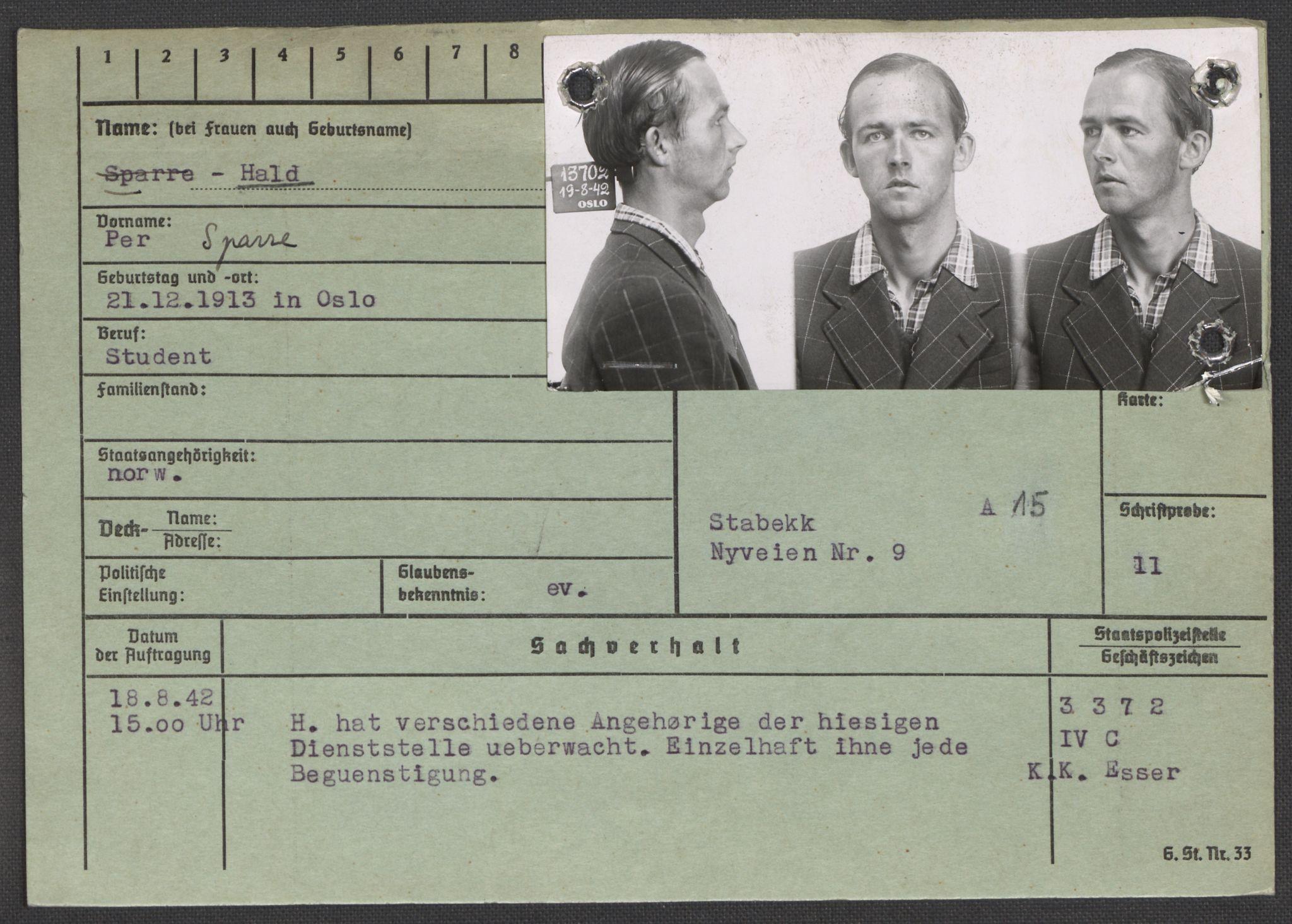 RA, Befehlshaber der Sicherheitspolizei und des SD, E/Ea/Eaa/L0004: Register over norske fanger i Møllergata 19: Hal-Hæ, 1940-1945, s. 2