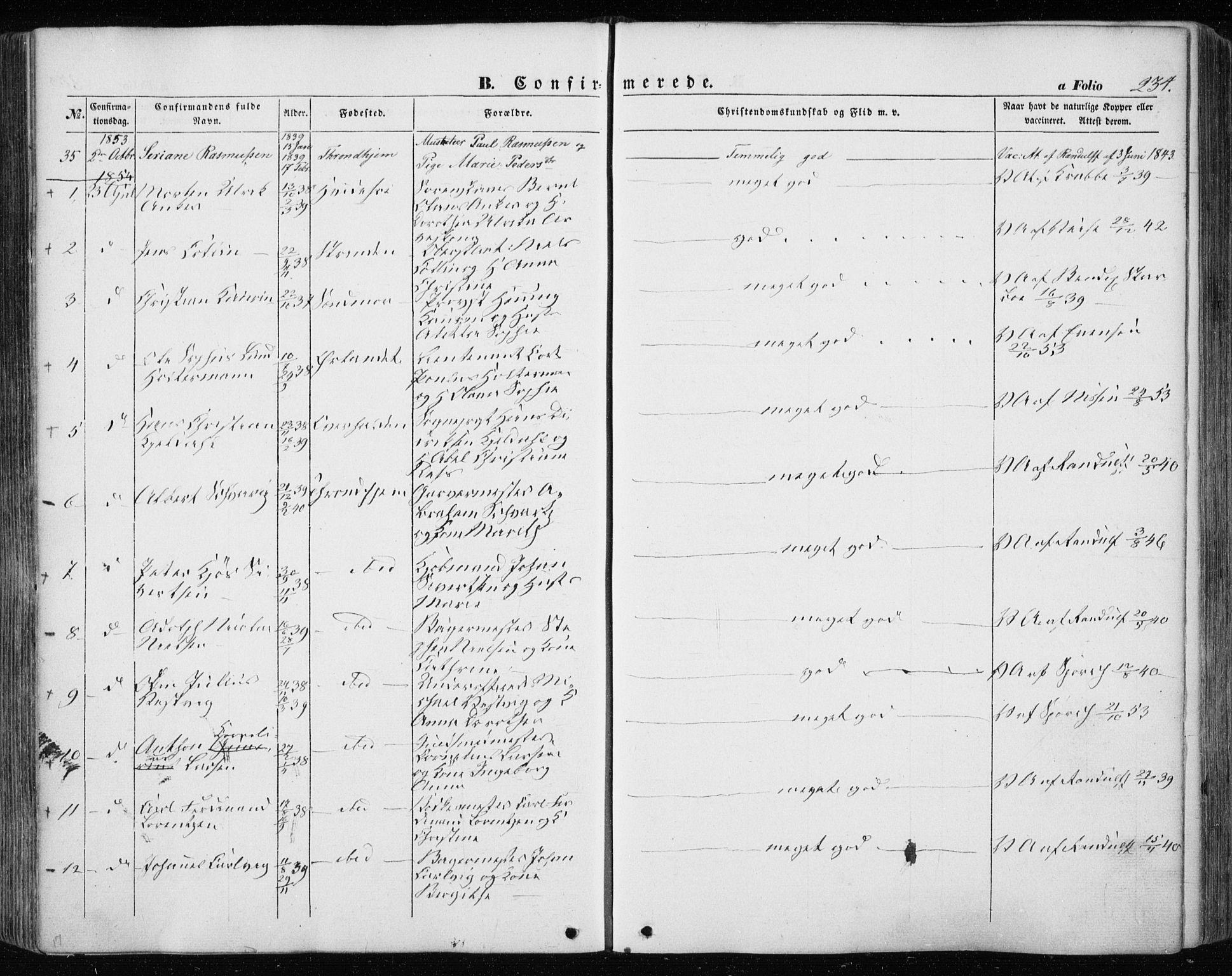 SAT, Ministerialprotokoller, klokkerbøker og fødselsregistre - Sør-Trøndelag, 601/L0051: Ministerialbok nr. 601A19, 1848-1857, s. 234