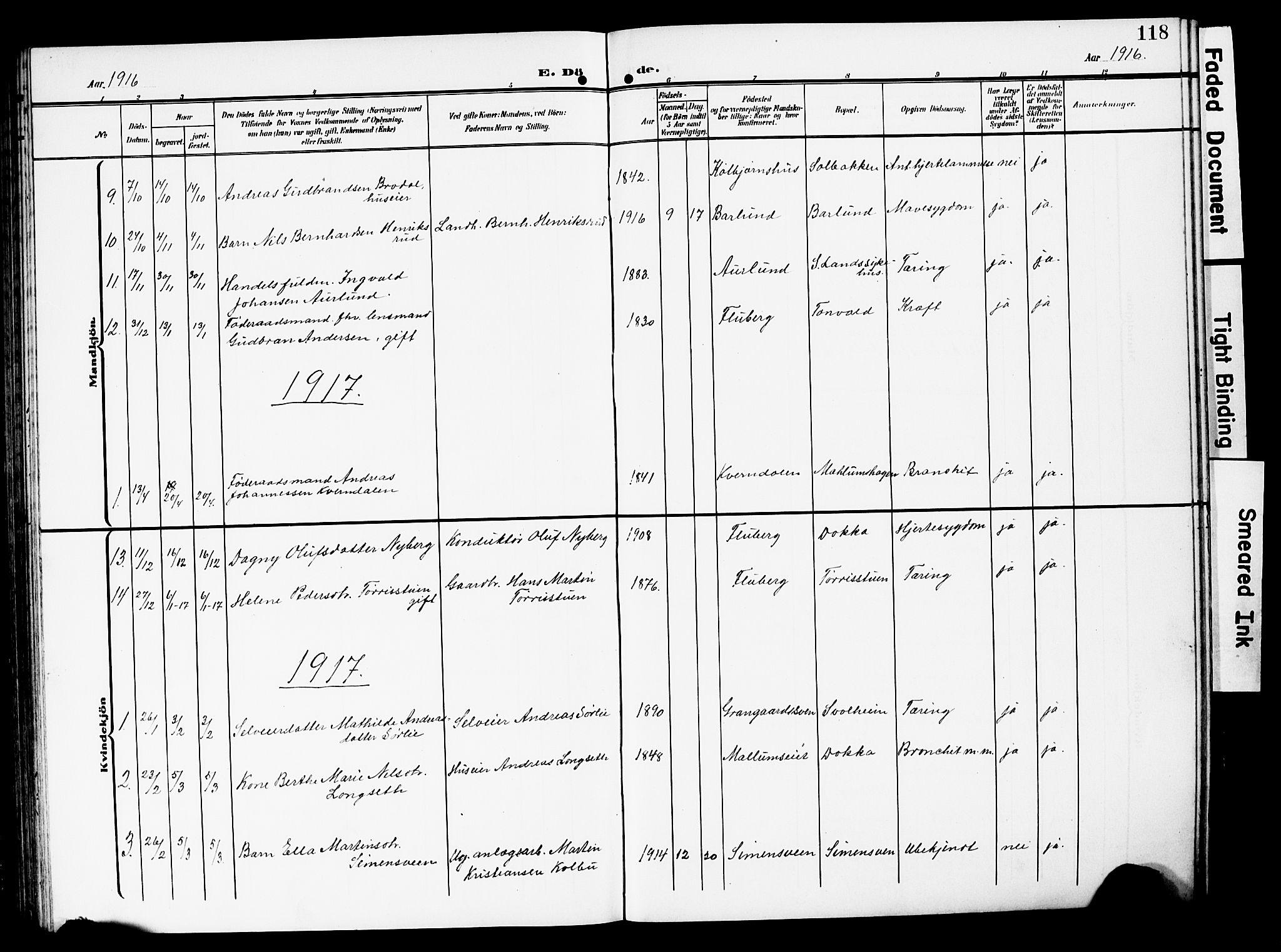 SAH, Nordre Land prestekontor, Klokkerbok nr. 1, 1908-1931, s. 118