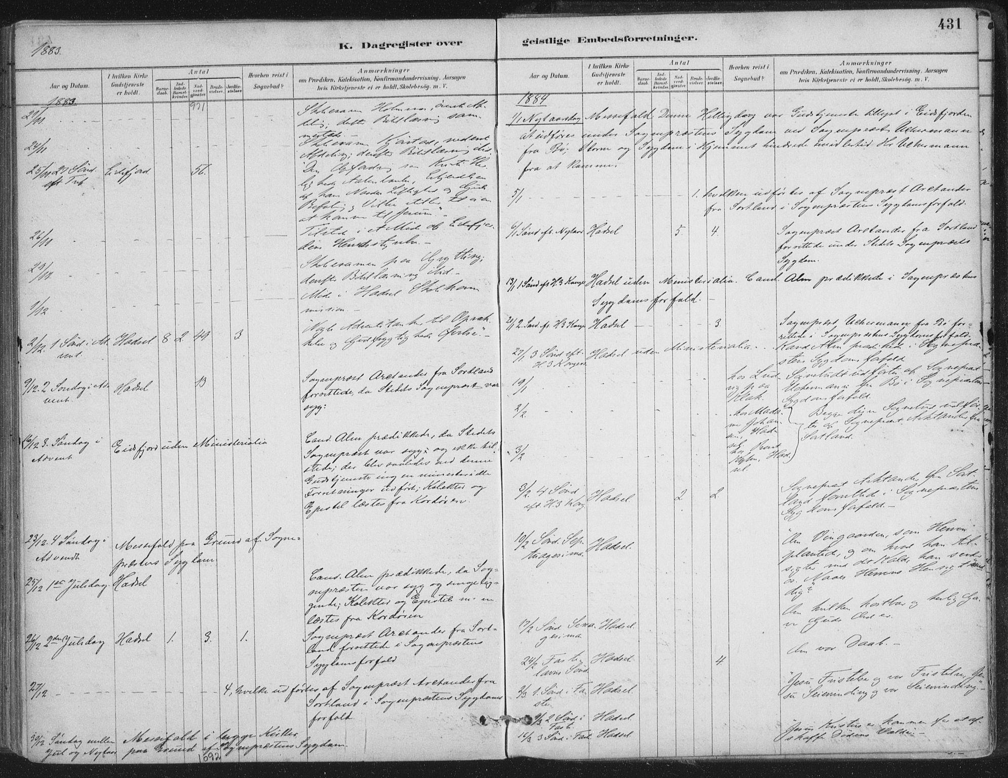 SAT, Ministerialprotokoller, klokkerbøker og fødselsregistre - Nordland, 888/L1244: Ministerialbok nr. 888A10, 1880-1890, s. 431