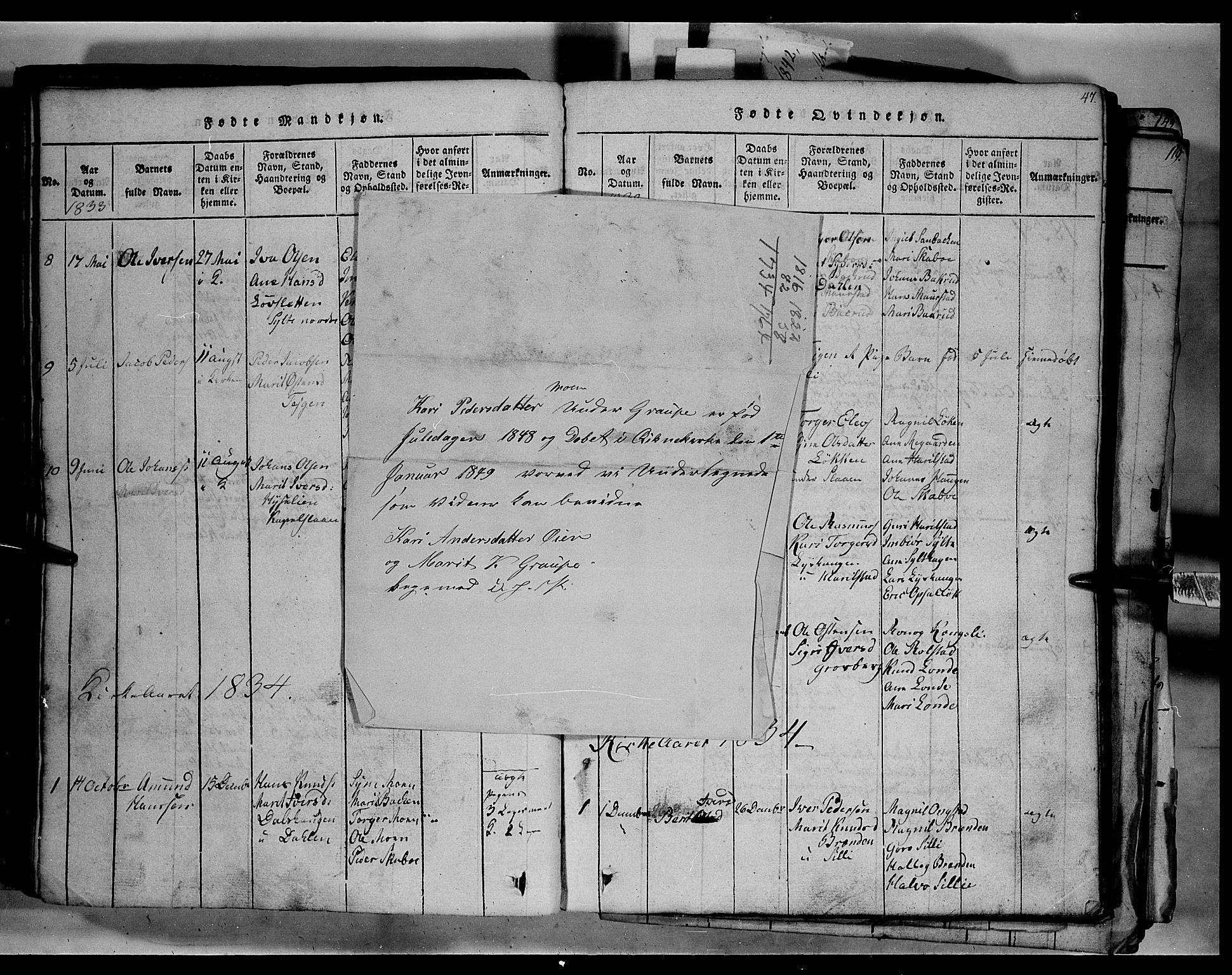 SAH, Fron prestekontor, H/Ha/Hab/L0003: Klokkerbok nr. 3, 1816-1850, s. 47