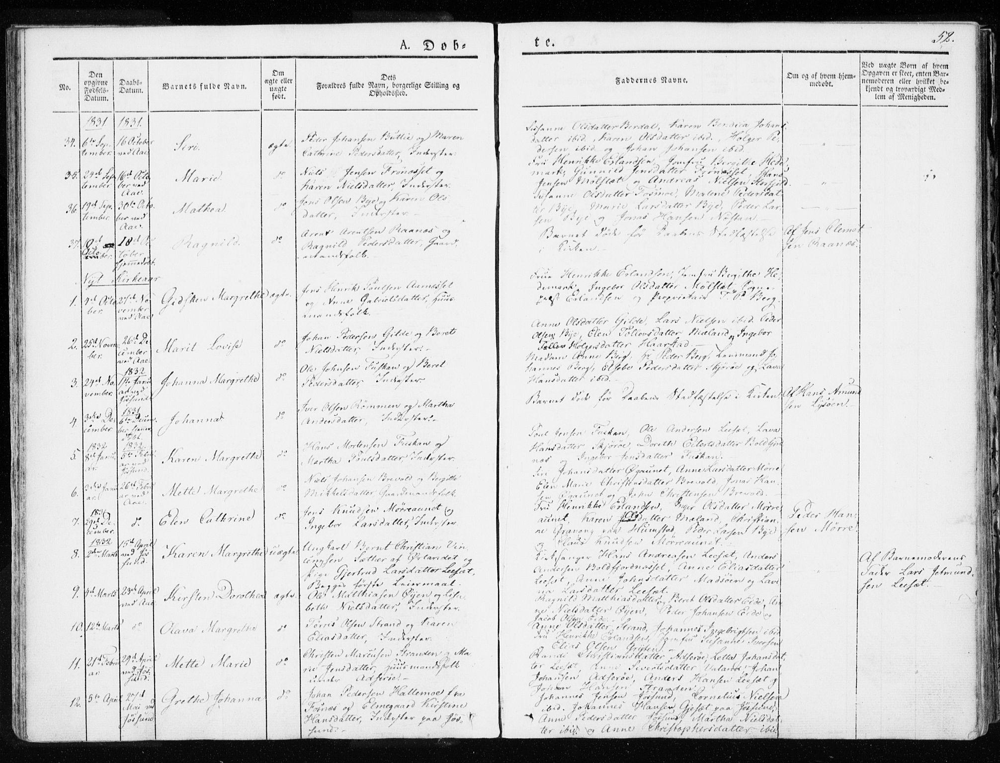 SAT, Ministerialprotokoller, klokkerbøker og fødselsregistre - Sør-Trøndelag, 655/L0676: Ministerialbok nr. 655A05, 1830-1847, s. 52