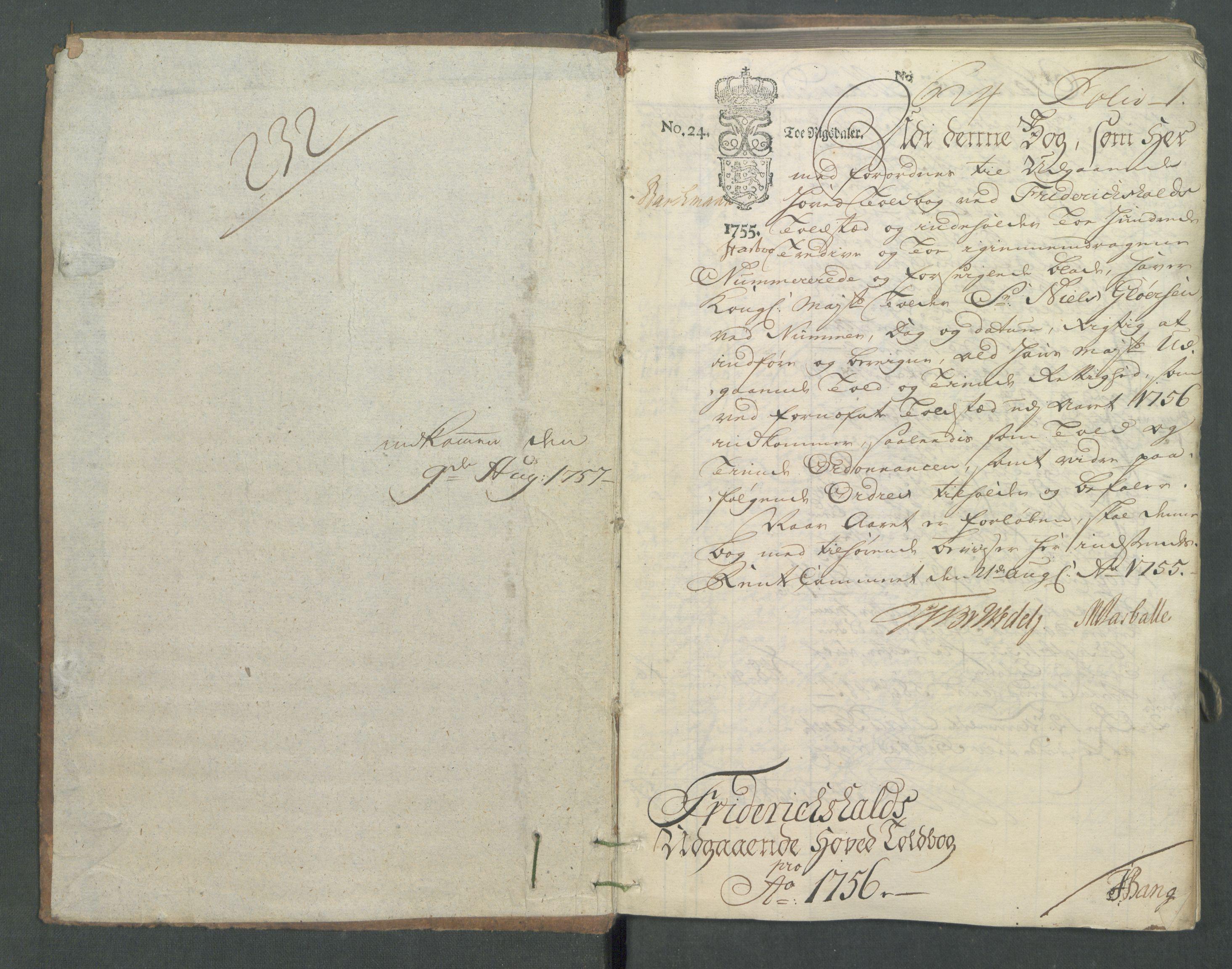 RA, Generaltollkammeret, tollregnskaper, R01/L0029: Tollregnskaper Fredrikshald, 1756
