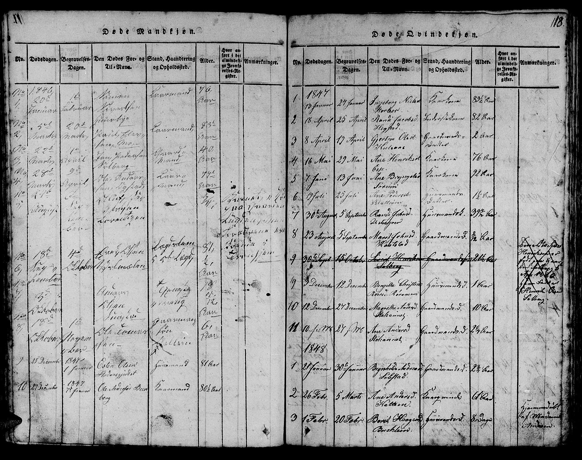 SAT, Ministerialprotokoller, klokkerbøker og fødselsregistre - Sør-Trøndelag, 613/L0393: Klokkerbok nr. 613C01, 1816-1886, s. 118