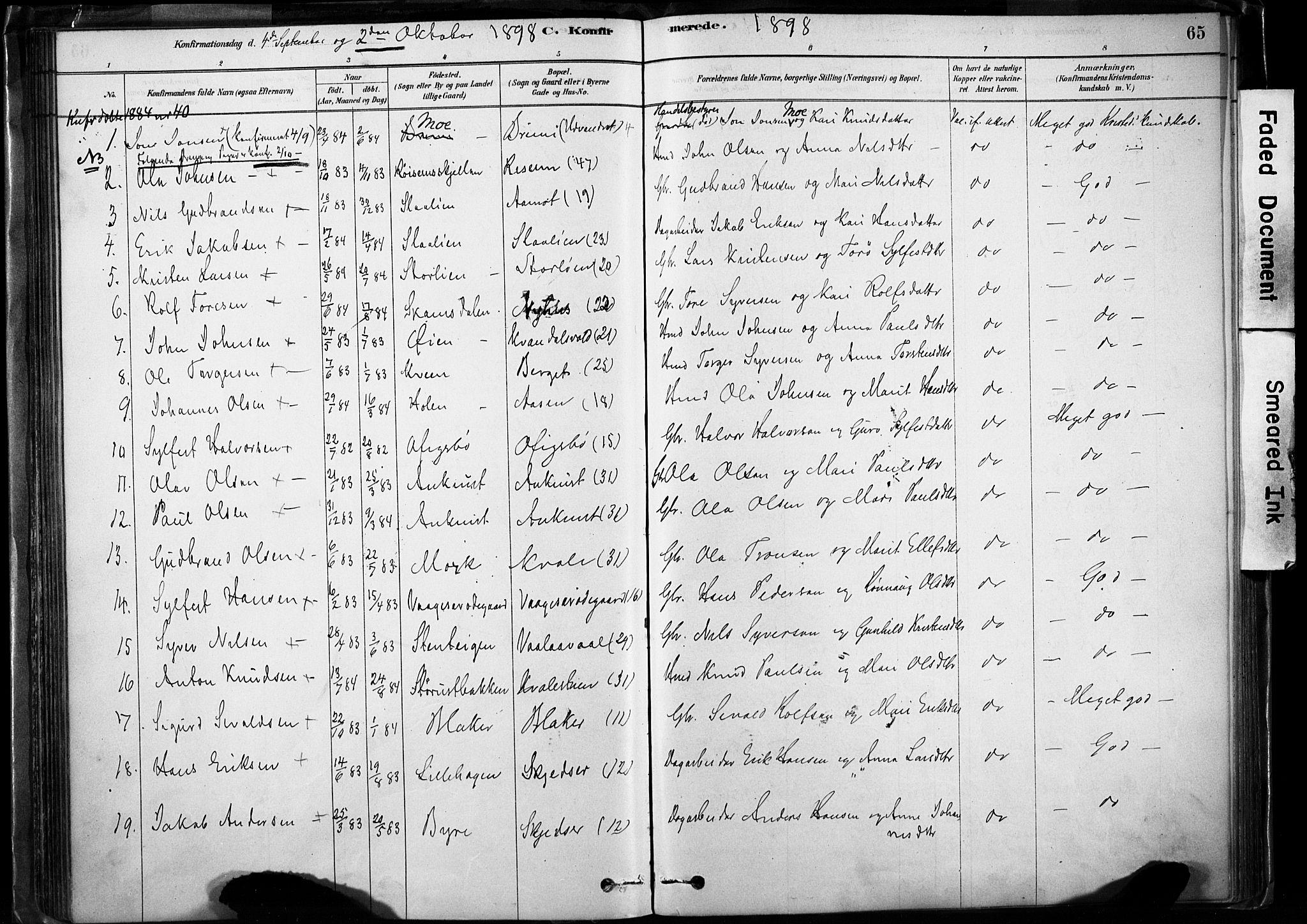 SAH, Lom prestekontor, K/L0009: Ministerialbok nr. 9, 1878-1907, s. 65