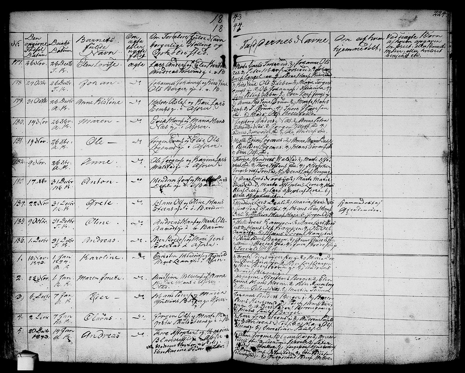 SAO, Asker prestekontor Kirkebøker, F/Fa/L0007: Ministerialbok nr. I 7, 1825-1864, s. 224