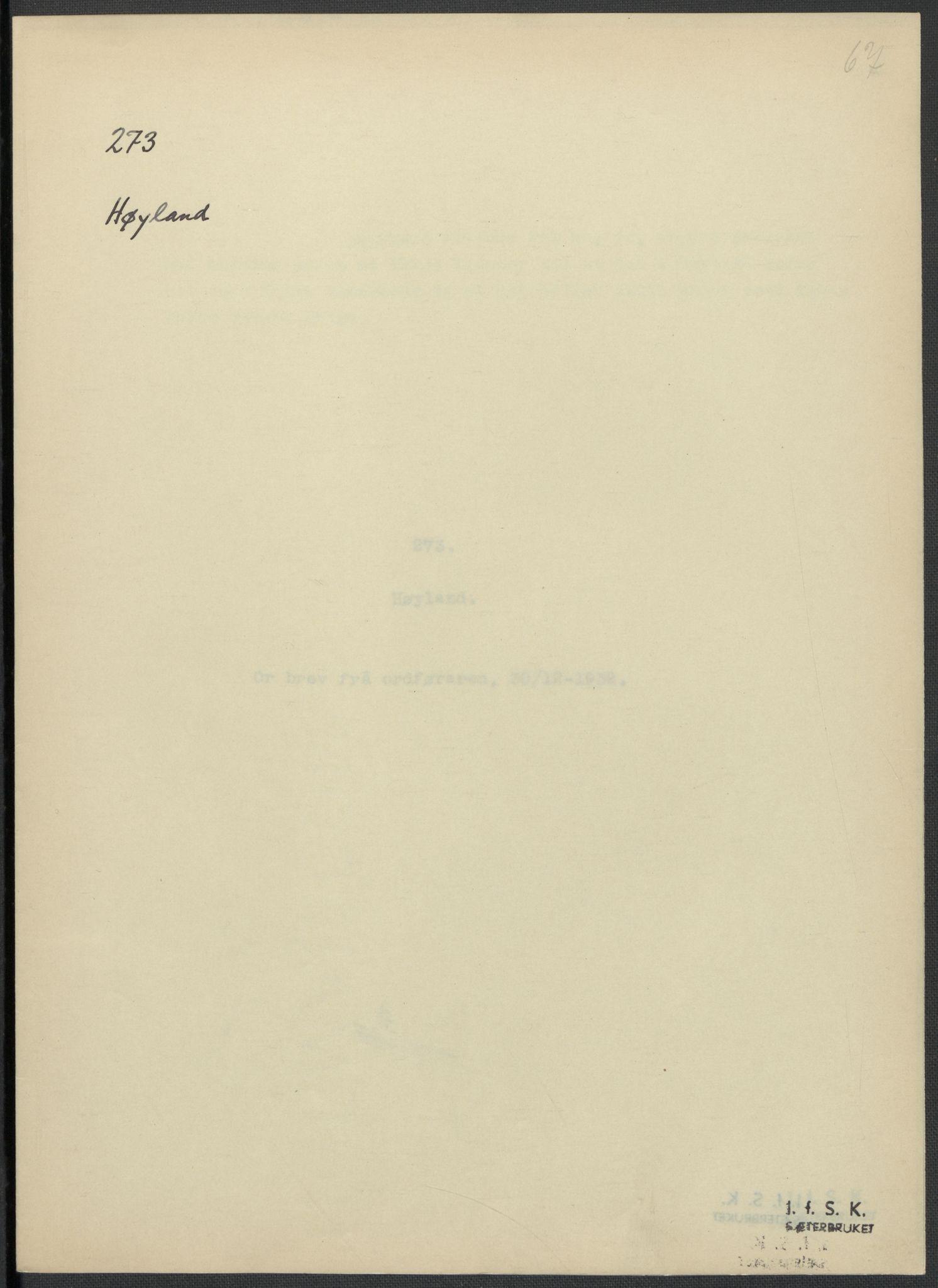 RA, Instituttet for sammenlignende kulturforskning, F/Fc/L0009: Eske B9:, 1932-1935, s. 67
