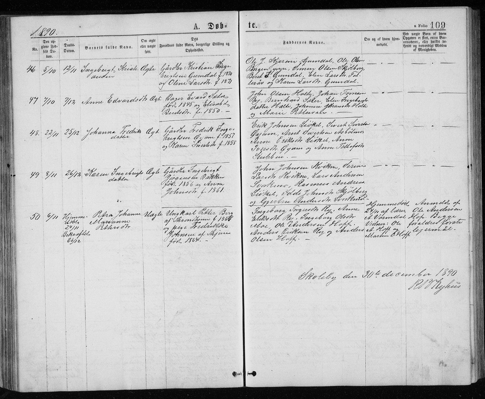 SAT, Ministerialprotokoller, klokkerbøker og fødselsregistre - Sør-Trøndelag, 671/L0843: Klokkerbok nr. 671C02, 1873-1892, s. 109