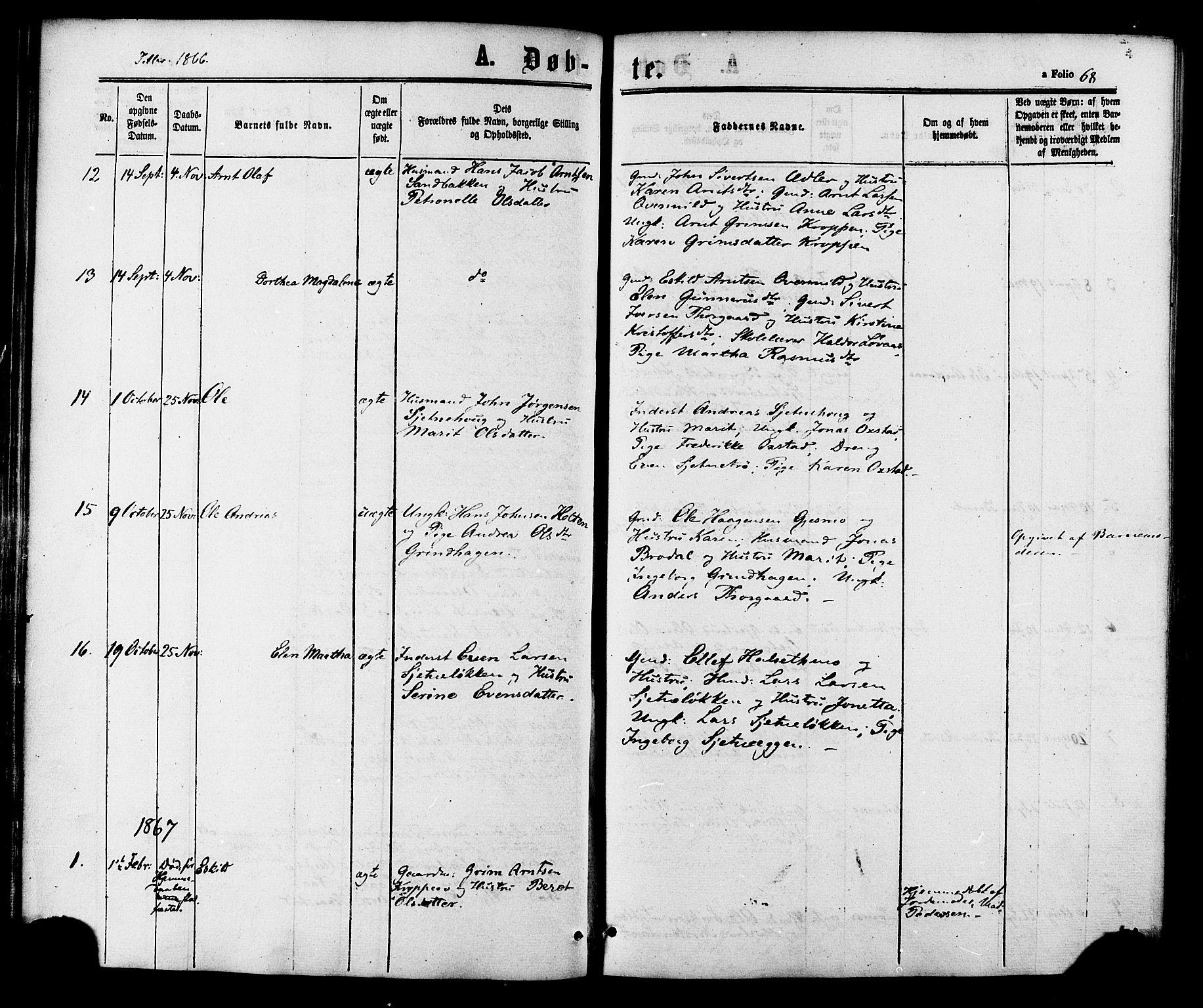 SAT, Ministerialprotokoller, klokkerbøker og fødselsregistre - Sør-Trøndelag, 618/L0443: Ministerialbok nr. 618A06 /2, 1863-1879, s. 68