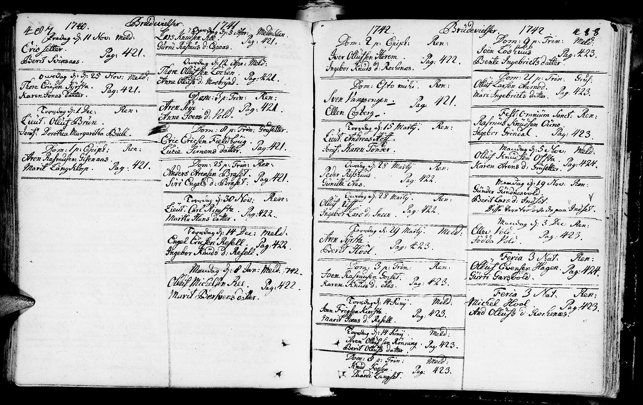SAT, Ministerialprotokoller, klokkerbøker og fødselsregistre - Sør-Trøndelag, 672/L0850: Ministerialbok nr. 672A03, 1725-1751, s. 487-488
