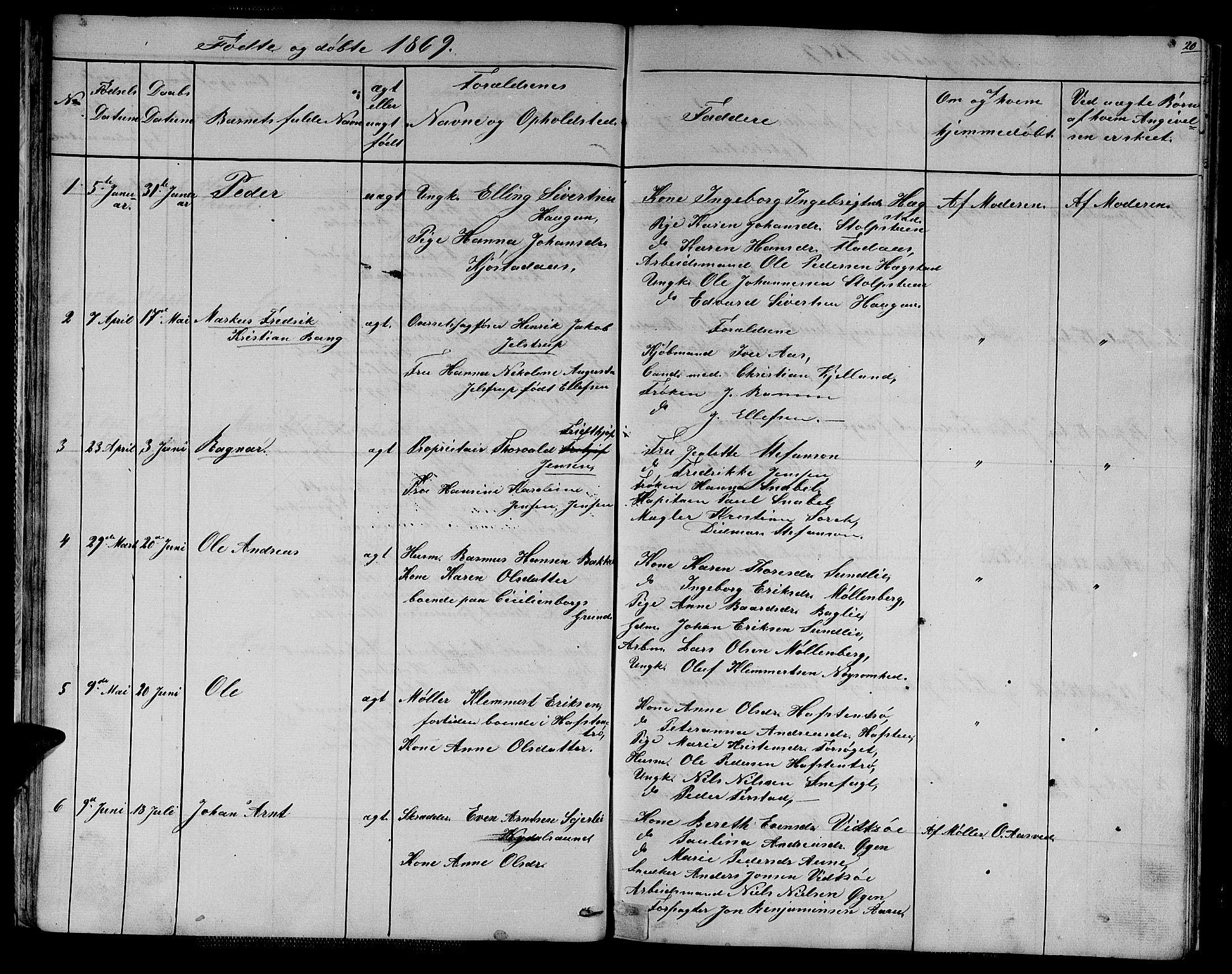 SAT, Ministerialprotokoller, klokkerbøker og fødselsregistre - Sør-Trøndelag, 611/L0353: Klokkerbok nr. 611C01, 1854-1881, s. 20