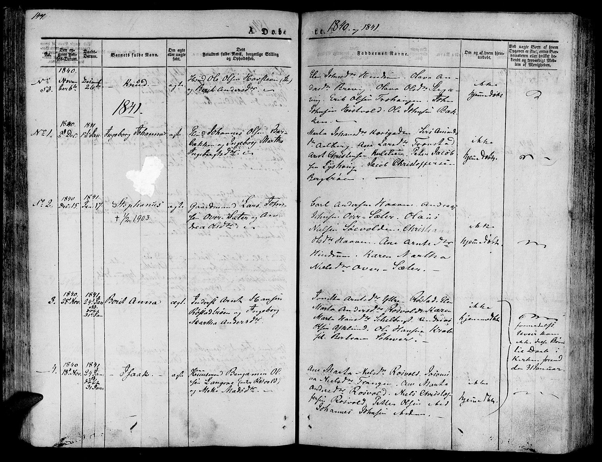 SAT, Ministerialprotokoller, klokkerbøker og fødselsregistre - Nord-Trøndelag, 701/L0006: Ministerialbok nr. 701A06, 1825-1841, s. 147