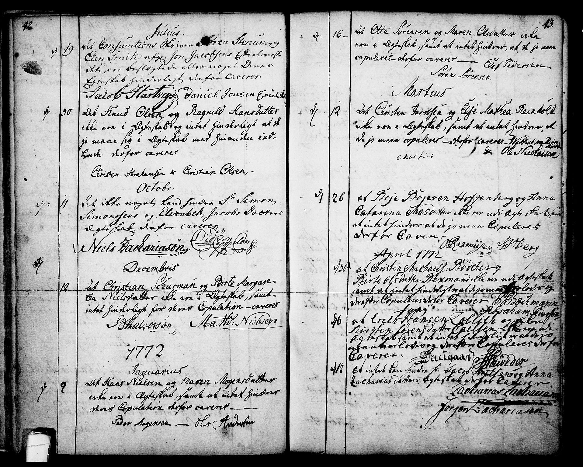SAKO, Skien kirkebøker, F/Fa/L0003: Ministerialbok nr. 3, 1755-1791, s. 42-43
