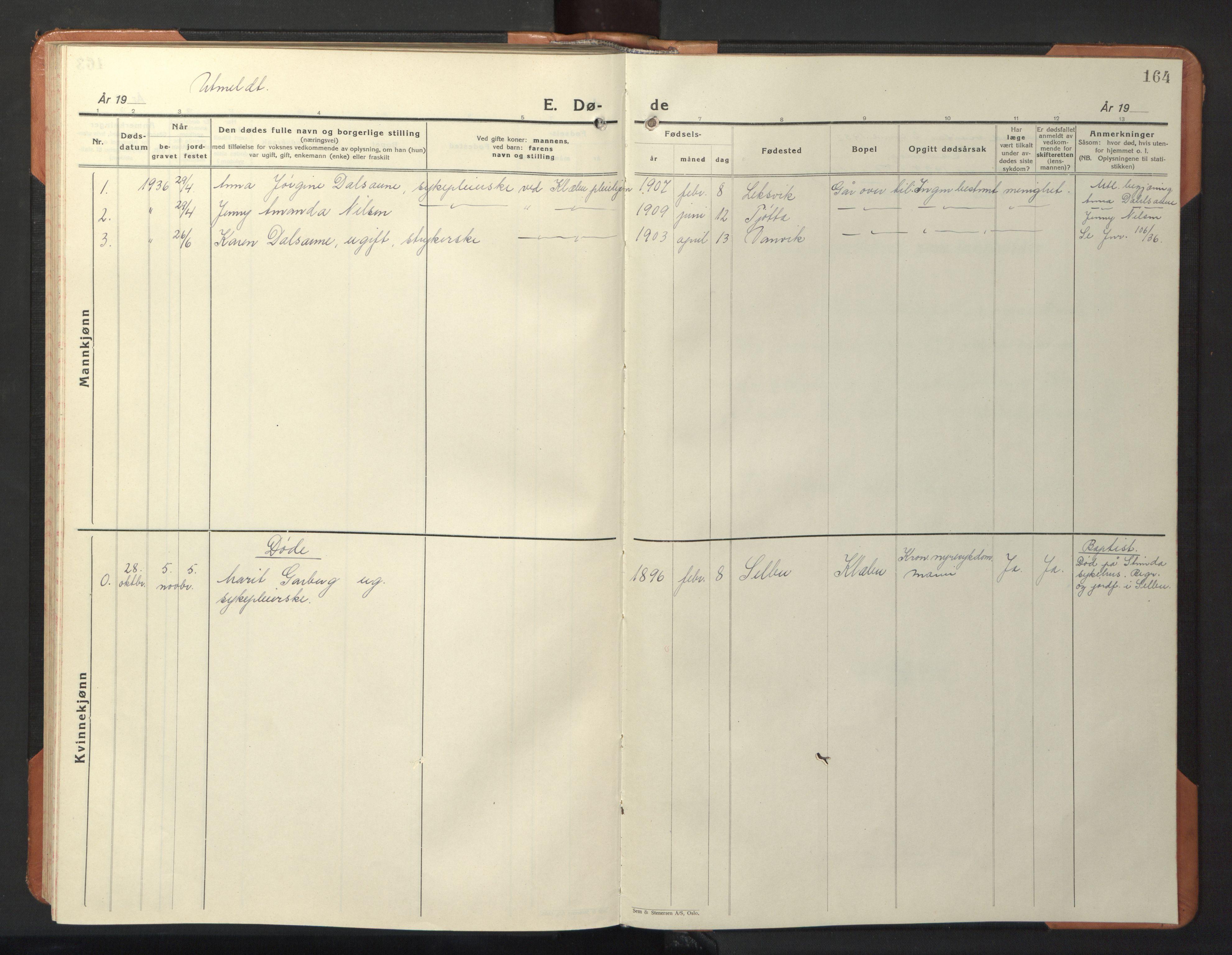 SAT, Ministerialprotokoller, klokkerbøker og fødselsregistre - Sør-Trøndelag, 618/L0454: Klokkerbok nr. 618C05, 1926-1946, s. 164