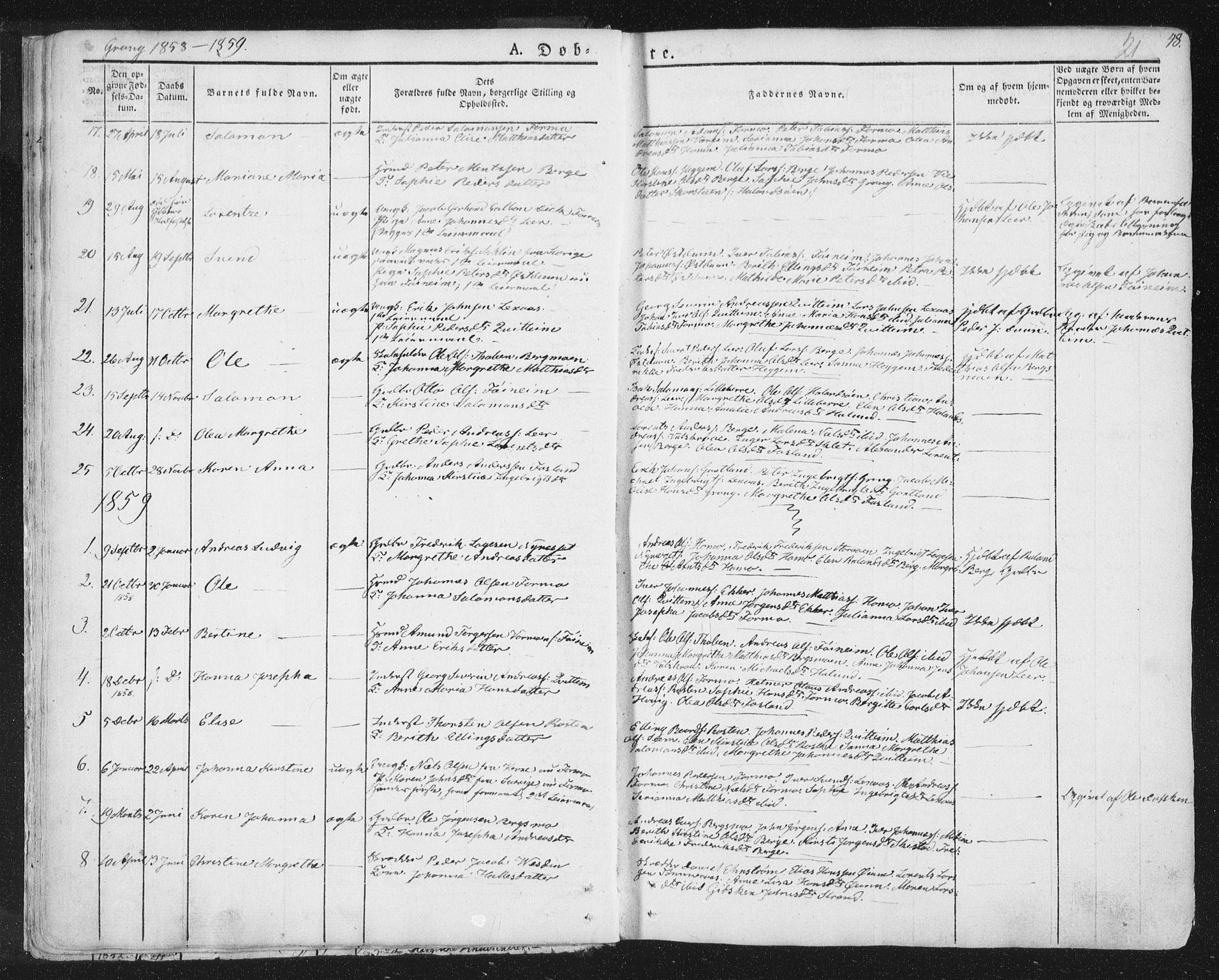 SAT, Ministerialprotokoller, klokkerbøker og fødselsregistre - Nord-Trøndelag, 758/L0513: Ministerialbok nr. 758A02 /1, 1839-1868, s. 21