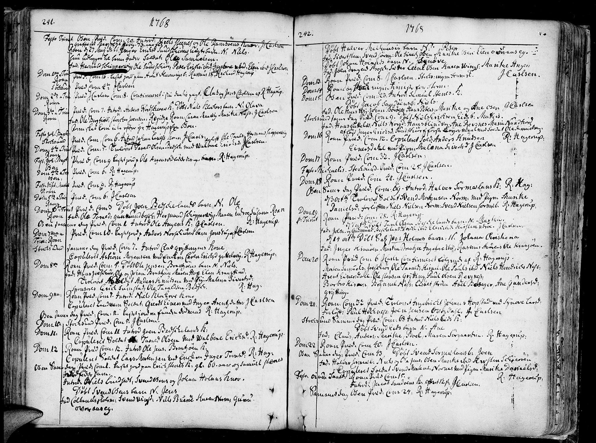 SAT, Ministerialprotokoller, klokkerbøker og fødselsregistre - Sør-Trøndelag, 657/L0700: Ministerialbok nr. 657A01, 1732-1801, s. 241-242