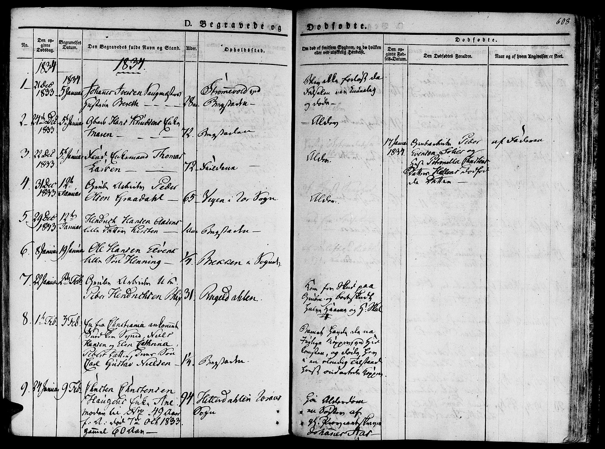 SAT, Ministerialprotokoller, klokkerbøker og fødselsregistre - Sør-Trøndelag, 681/L0930: Ministerialbok nr. 681A08, 1829-1844, s. 608