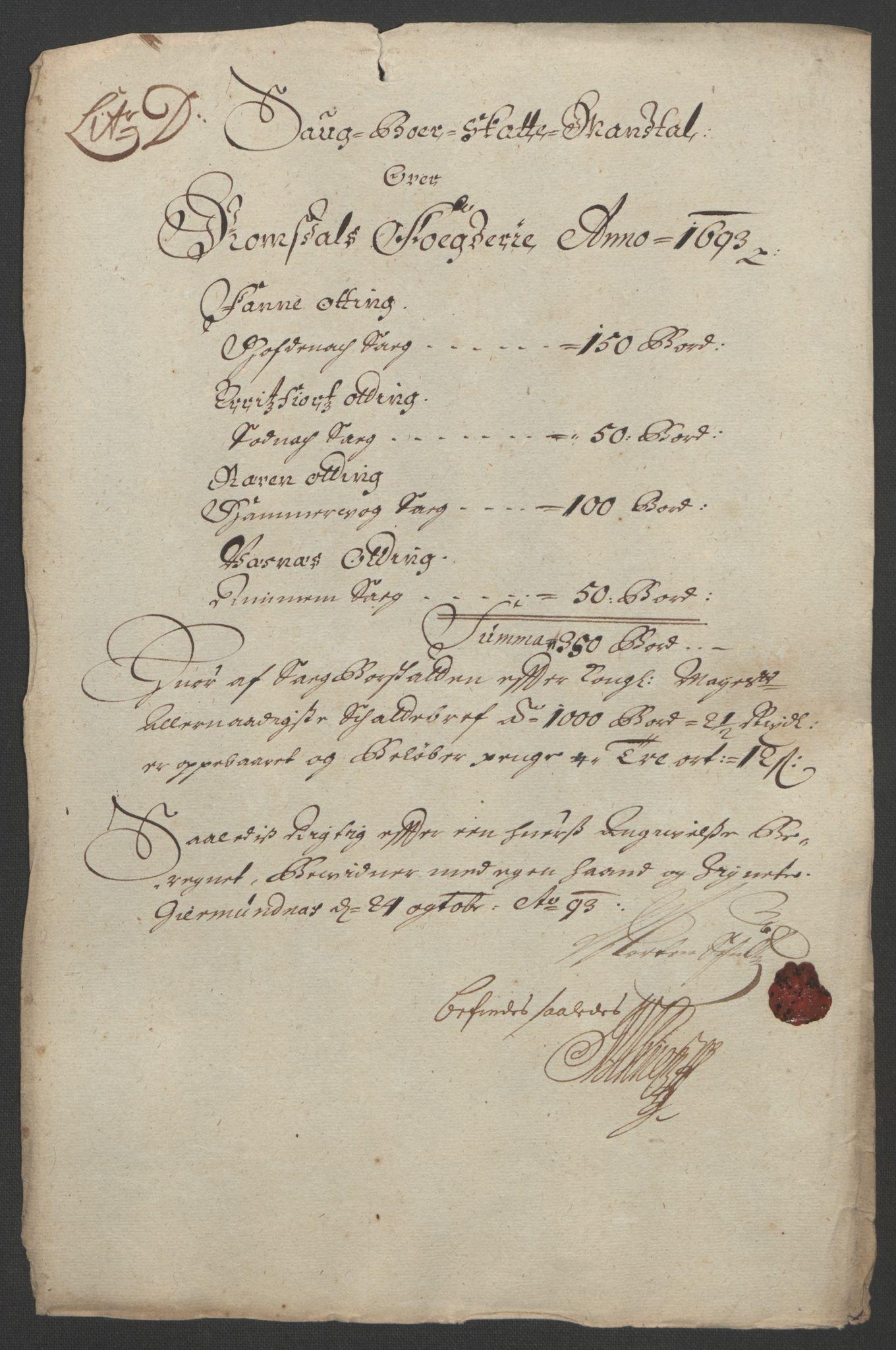 RA, Rentekammeret inntil 1814, Reviderte regnskaper, Fogderegnskap, R55/L3651: Fogderegnskap Romsdal, 1693-1694, s. 72