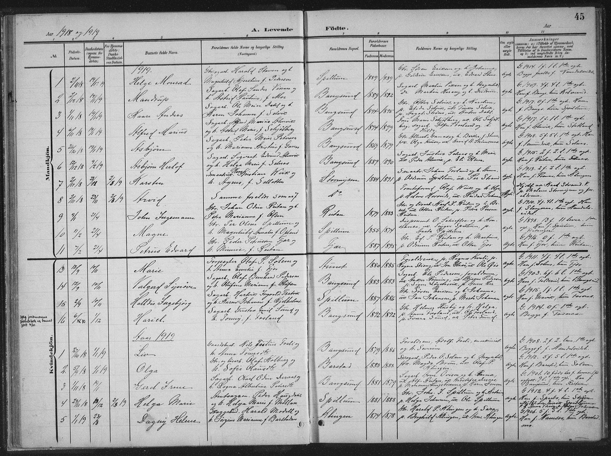 SAT, Ministerialprotokoller, klokkerbøker og fødselsregistre - Nord-Trøndelag, 770/L0591: Klokkerbok nr. 770C02, 1902-1940, s. 45