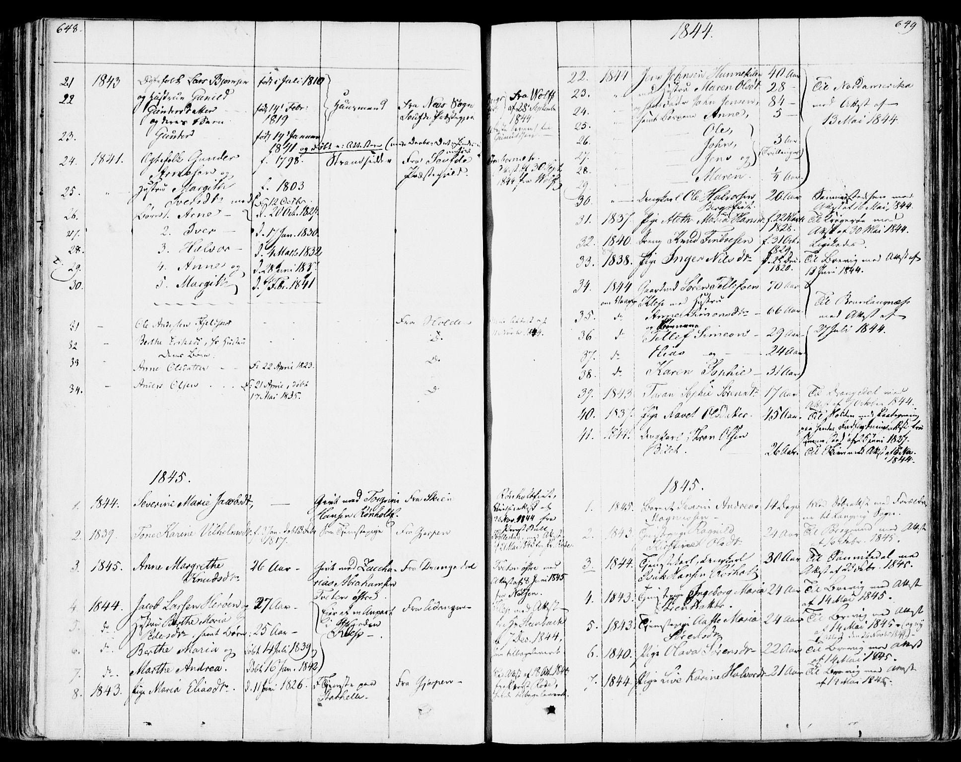 SAKO, Bamble kirkebøker, F/Fa/L0004: Ministerialbok nr. I 4, 1834-1853, s. 648-649