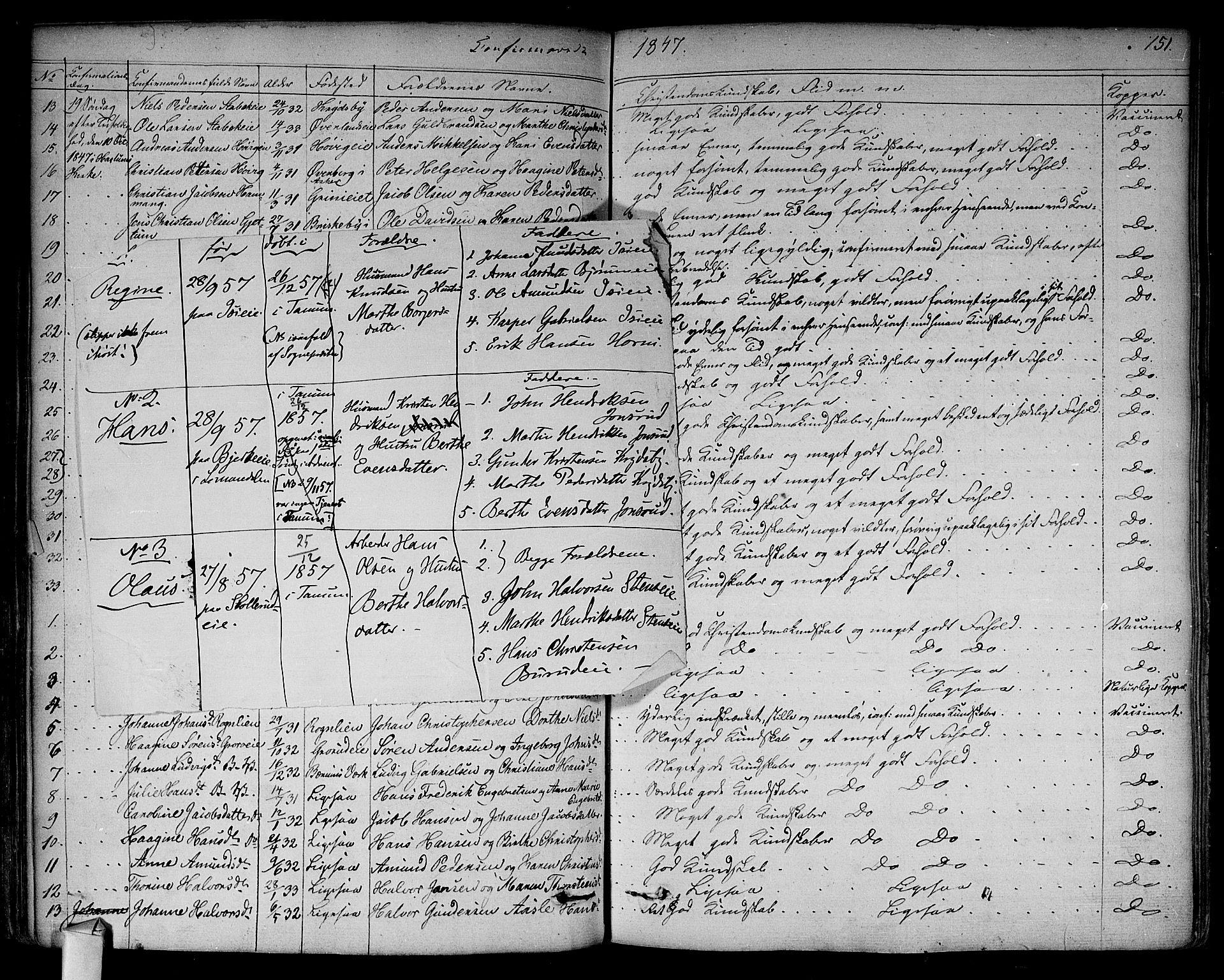SAO, Asker prestekontor Kirkebøker, F/Fa/L0009: Ministerialbok nr. I 9, 1825-1878, s. 151