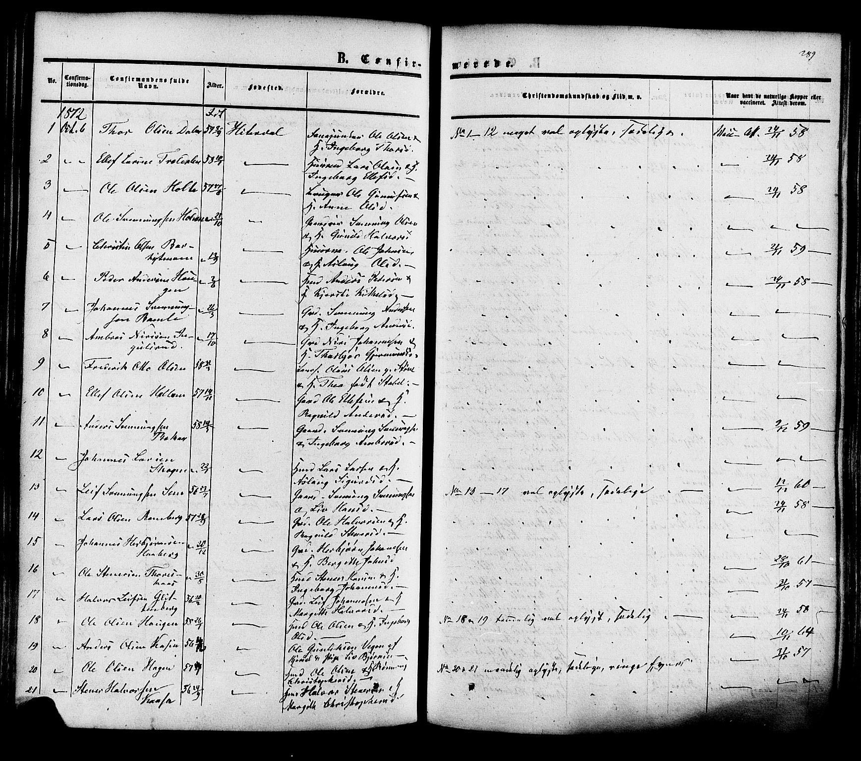 SAKO, Heddal kirkebøker, F/Fa/L0007: Ministerialbok nr. I 7, 1855-1877, s. 289